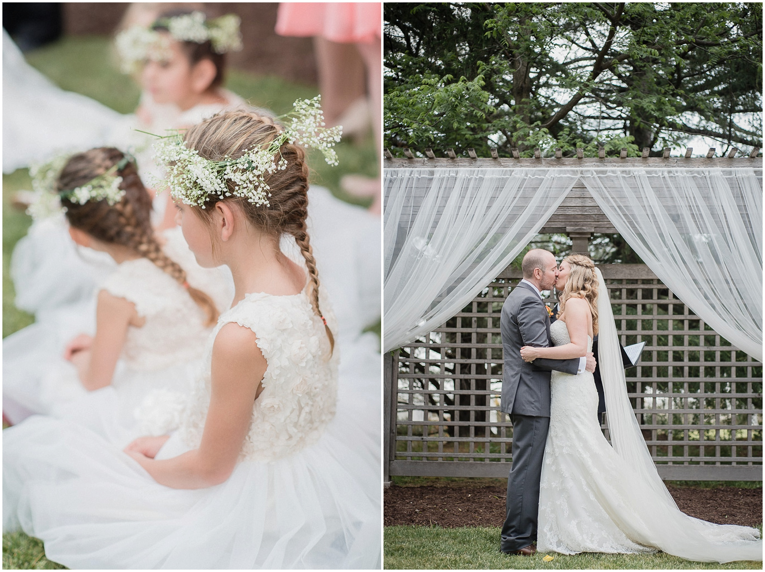 Rustic Baby's Breath Flower Crowns at a Knollwood Golf Course Wedding in Hamilton, Ontario by Jenn Kavanagh Photography