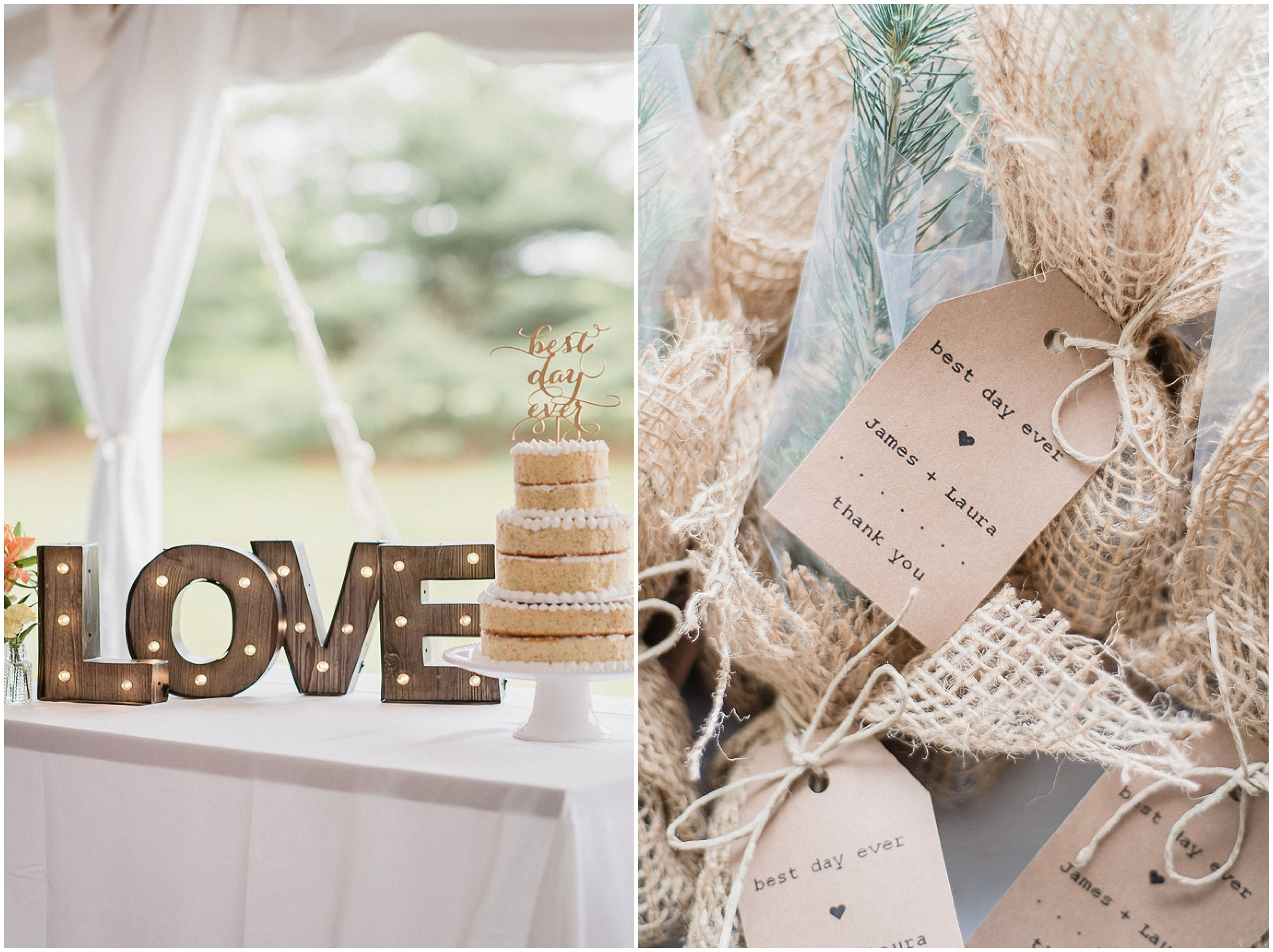 Rustic Details: Light Up Love Sign, Naked Cake and Take Home Tree Sapling Thank You gifts at this Knollwood Golf Course Wedding in Hamilton, Ontario by Jenn Kavanagh Photography