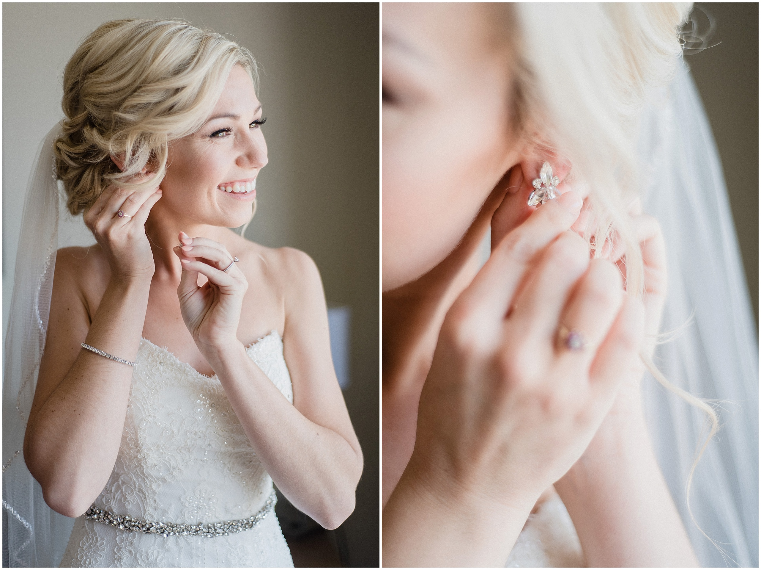Beautiful bride putting earrings on, photographed by Jenn Kavanagh Photography