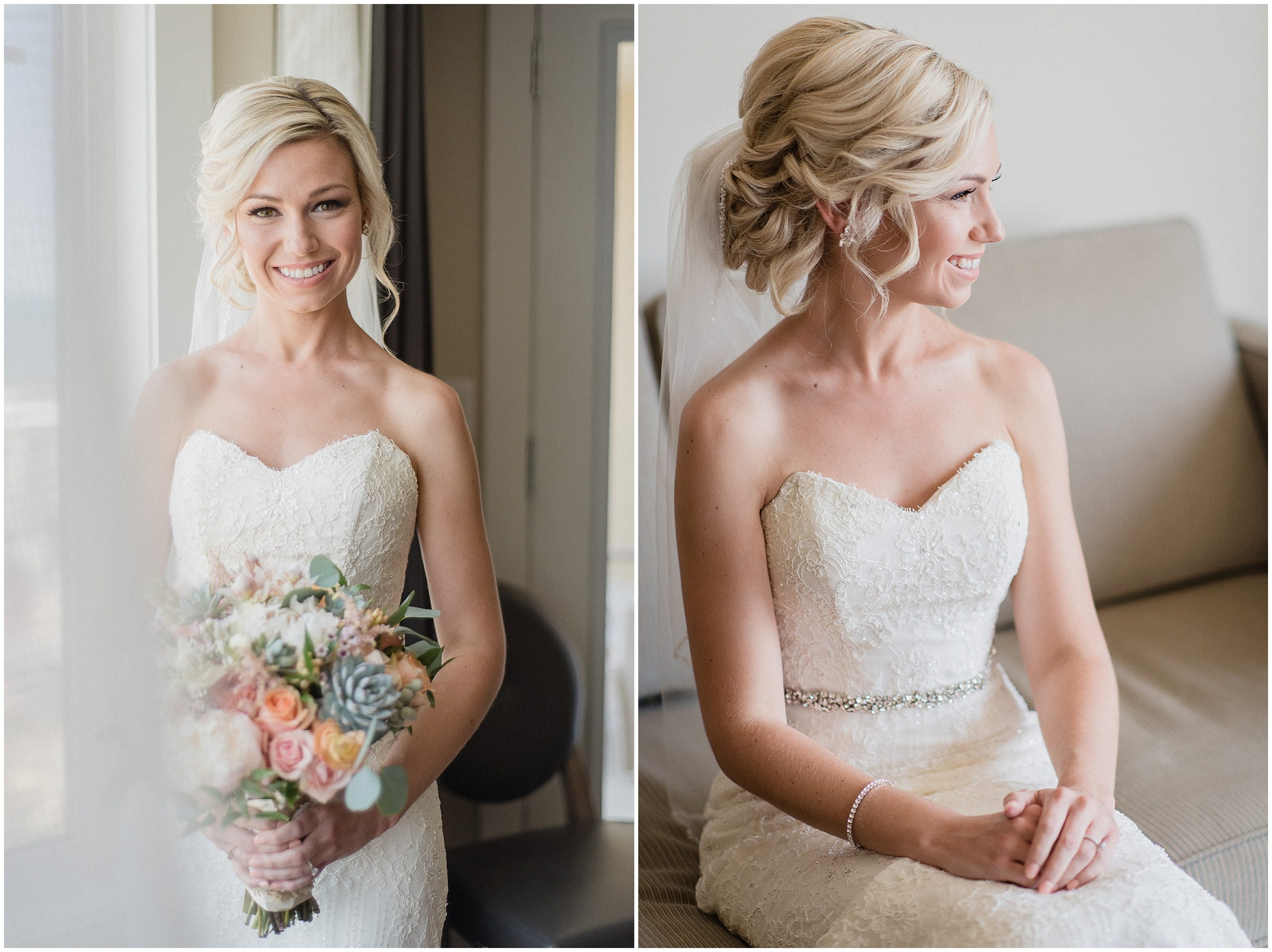 Beautiful window lit bridal portrait with textured updo. Photographed by Jenn Kavanagh Photography