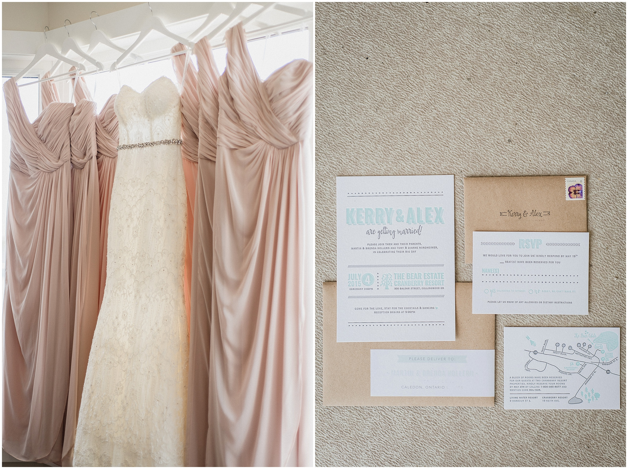 Wedding Gown hanging with one shouldered, full length blush bridesmaid dresses. Wedding Invitations by Frou Frou House. Photographed by Jenn Kavanagh Photography