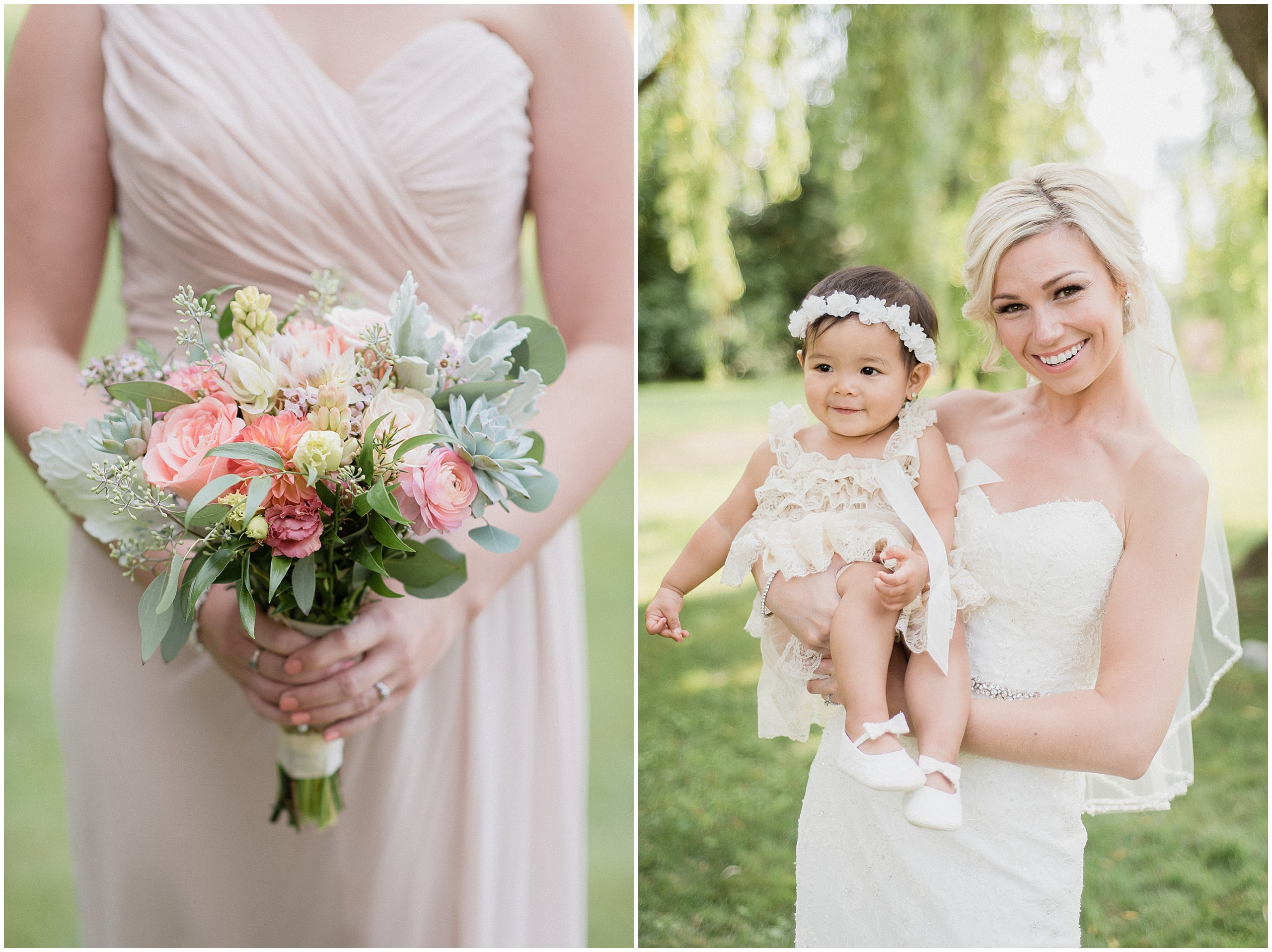 Bridesmaids bouquet with succulents, garden roses, and peonies. Bride holding flower girl with flower crown. Photographed by Jenn Kavanagh Photography