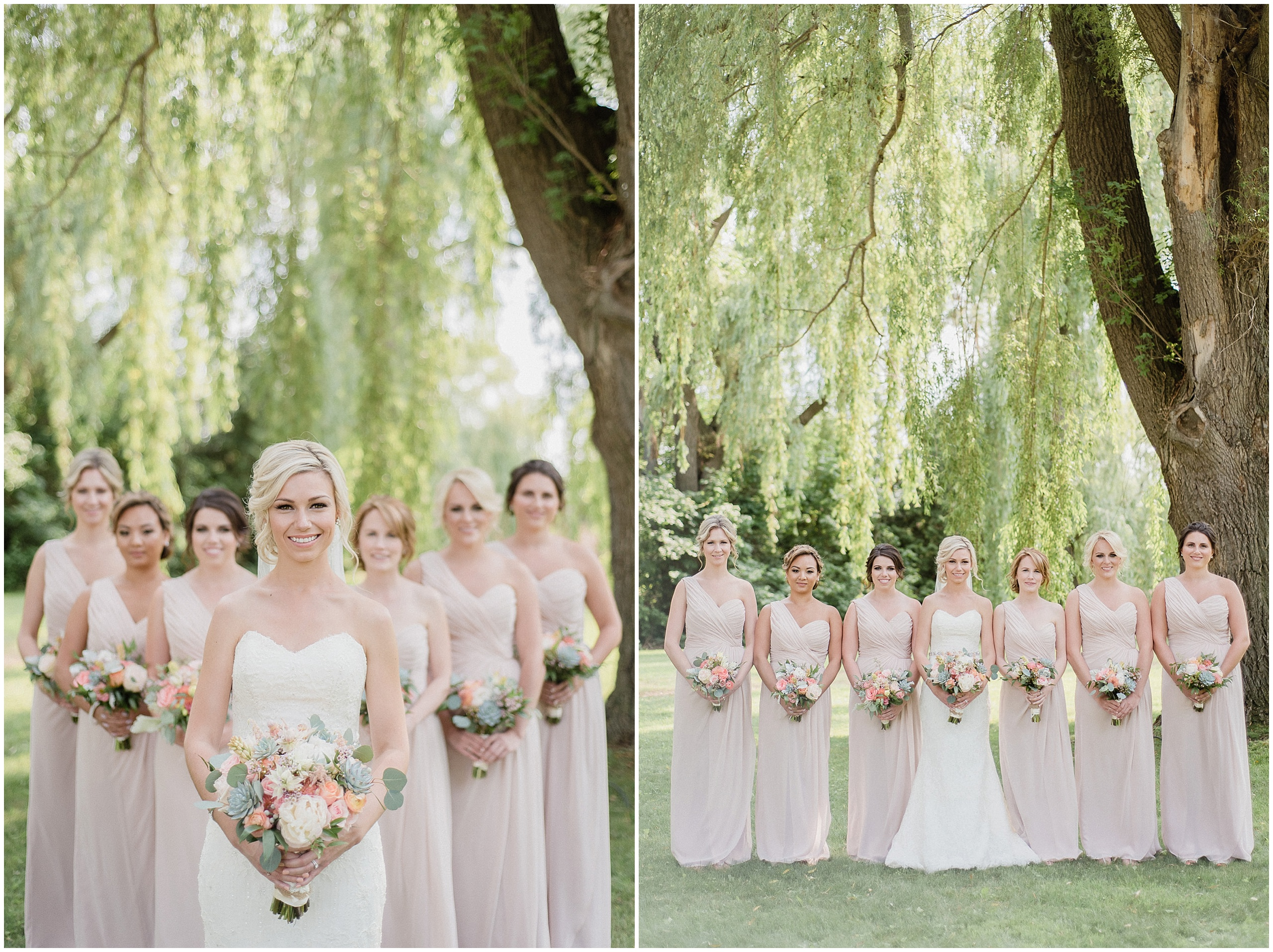 Pretty bridesmaids photo with blush pink one shouldered, full length bridesmaid dresses. Photographed by Jenn Kavanagh Photography