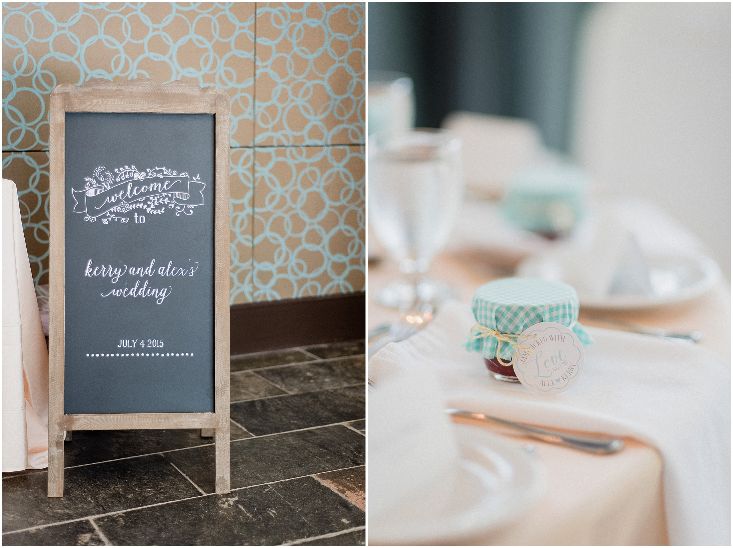 Wedding chalkboard sign and jam favours photographed by Jenn Kavanagh Photography