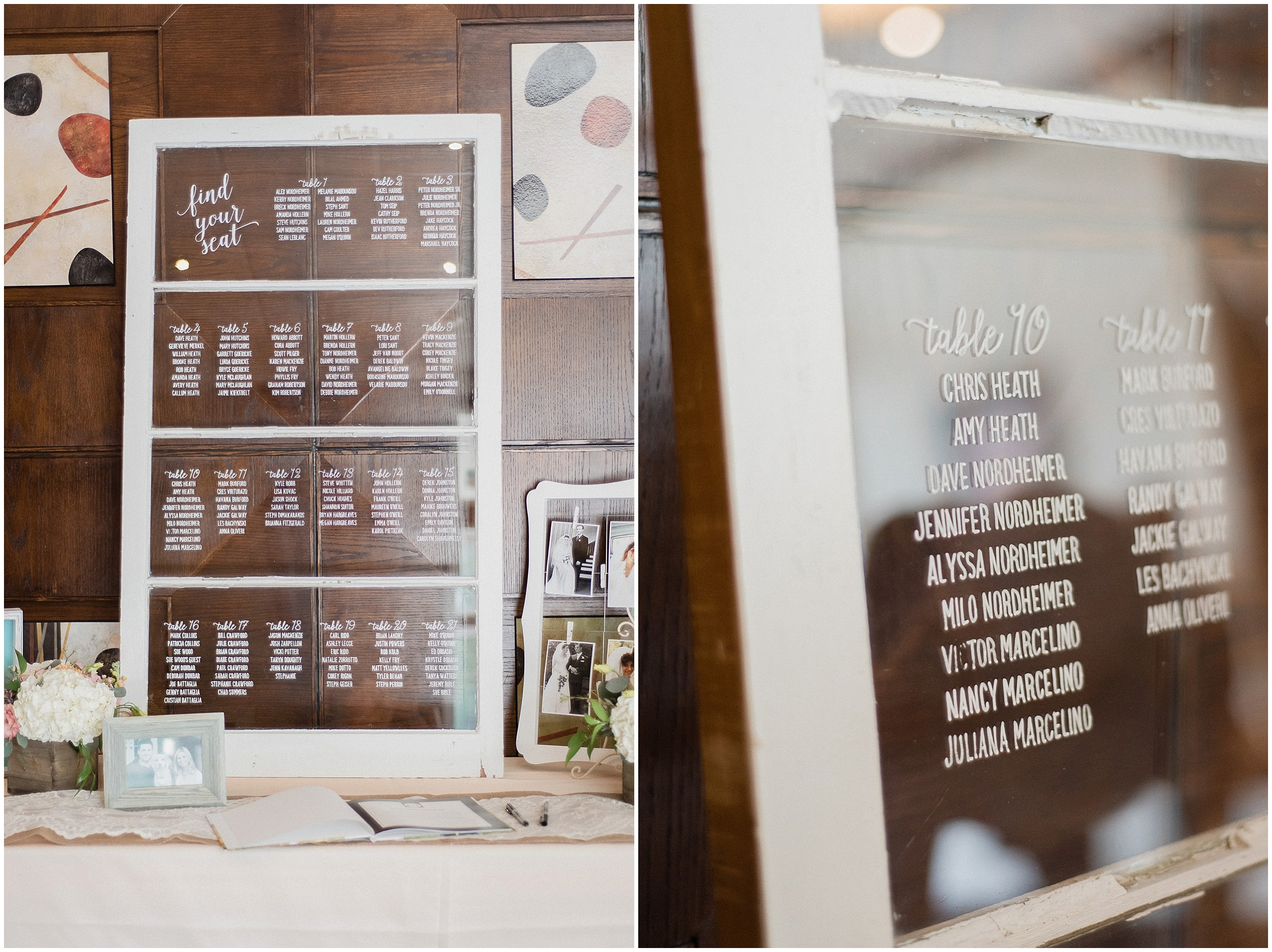 Vintage window table seating chart with DIY calligraphy, photographed by Jenn Kavanagh Photography