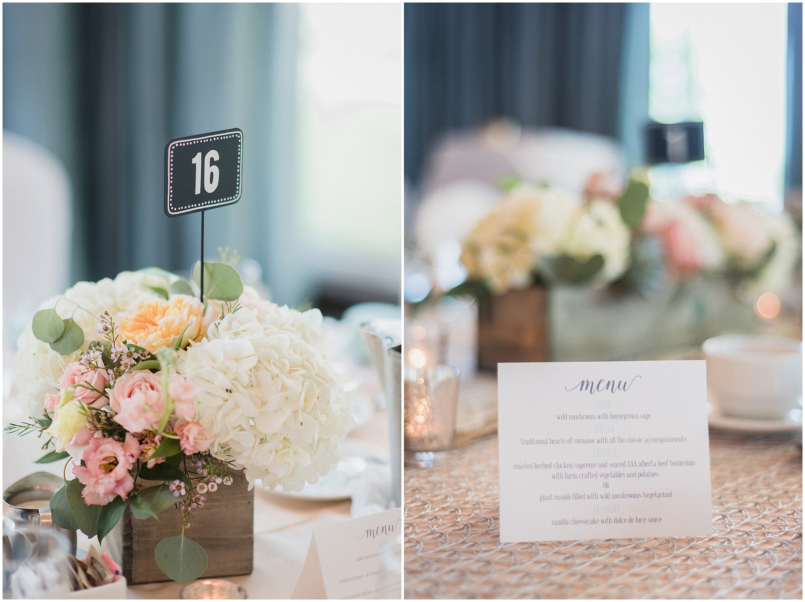 Floral wedding centre pieces in wooden boxes, featuring hydrangeas, succulents and peonies. Photographed by Jenn Kavanagh Photography