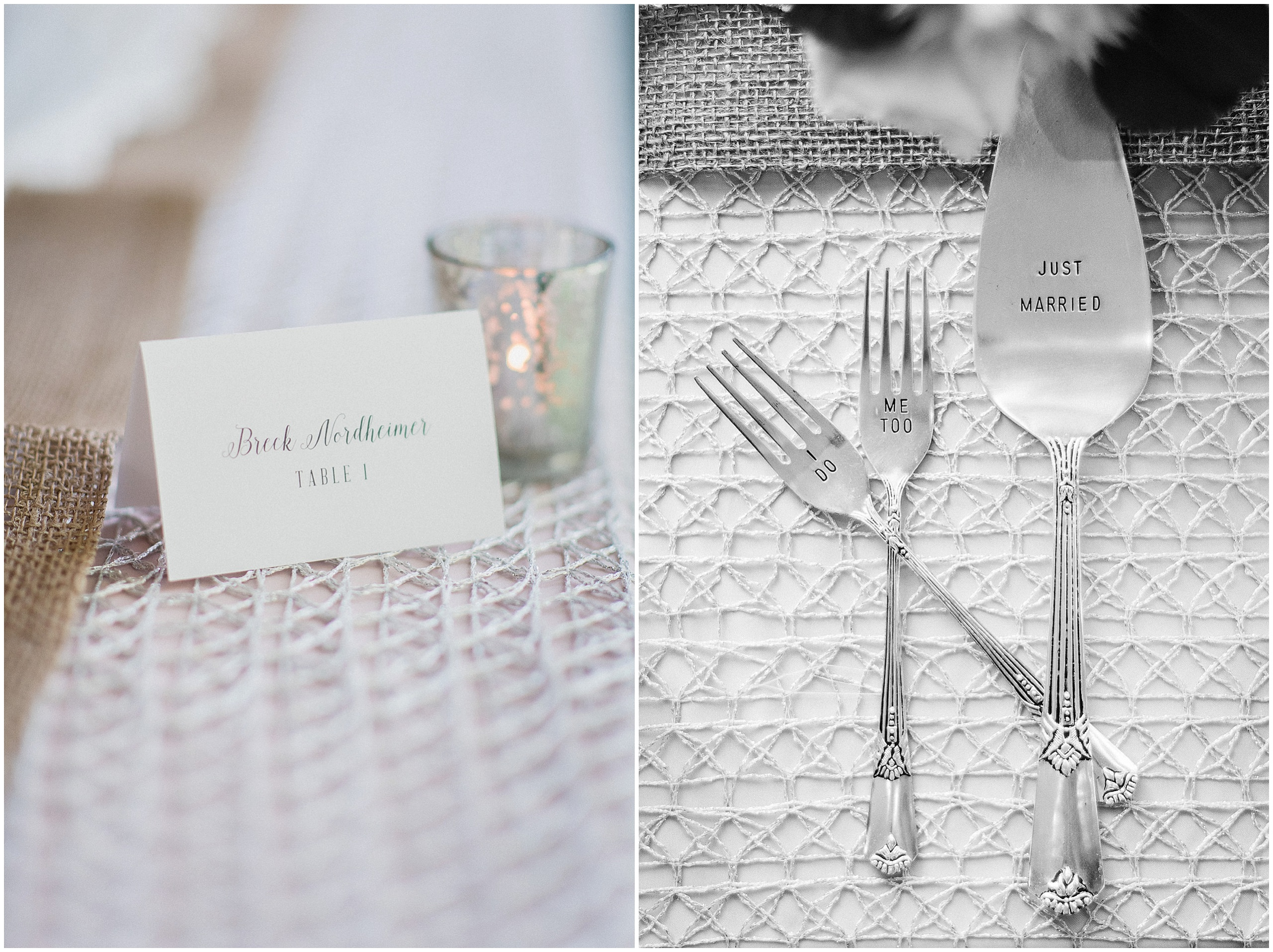 Antique silver wedding cake server and forks. 'I do, Me too' forks photographed by Jenn Kavanagh Photography