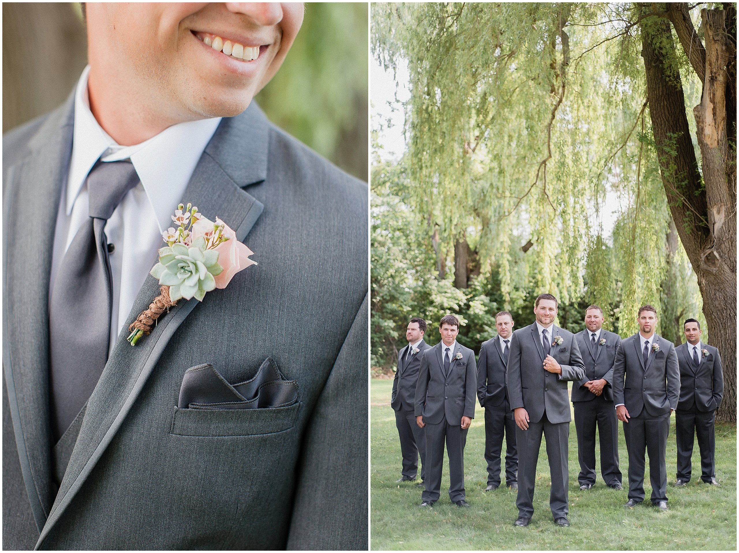 Groomsmen boutonniere with twine and succulents. Photographed by Jenn Kavanagh Photography