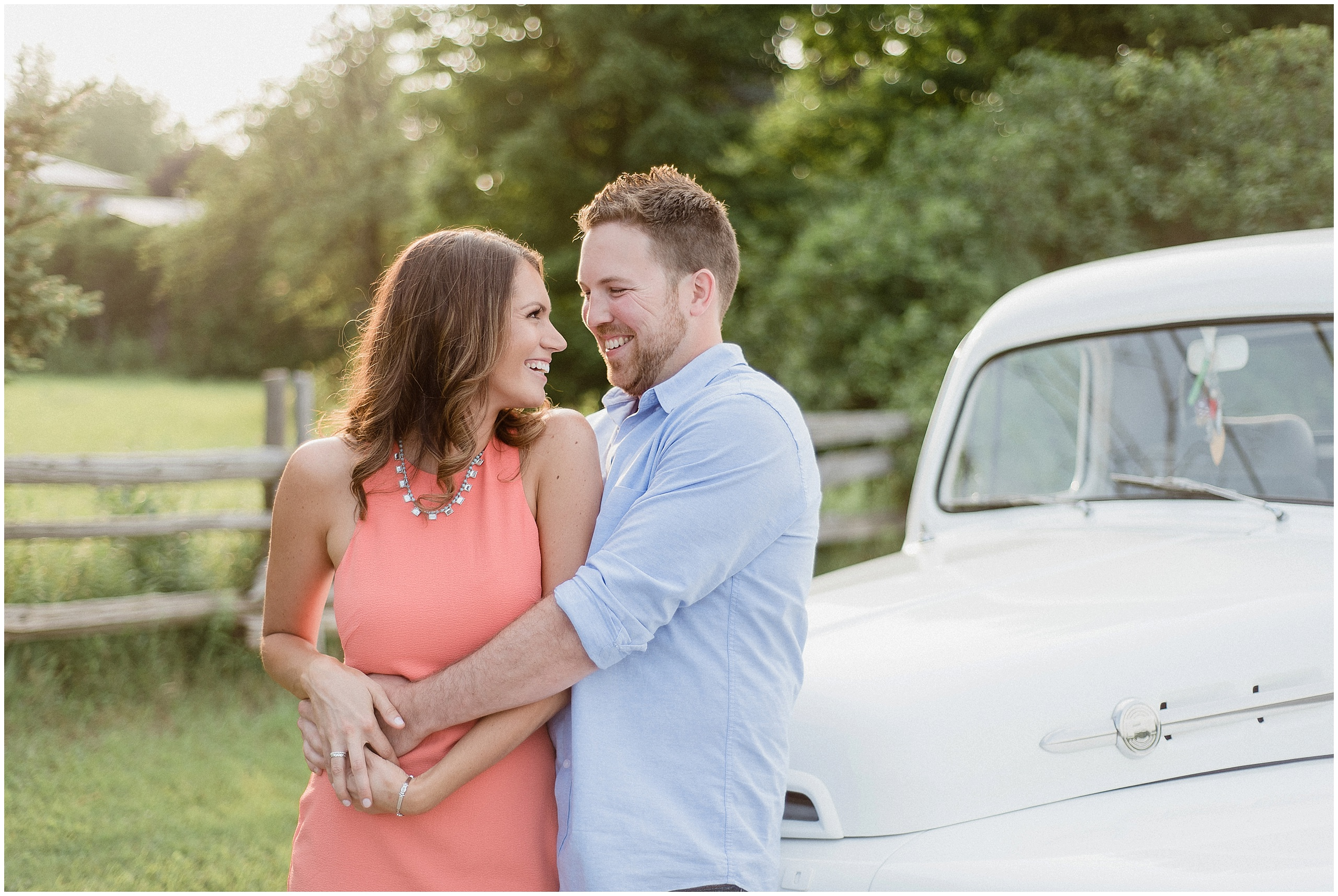 Lake Simcoe Engagement Photos by Jenn Kavanagh Photography, featuring a white antique Ford truck