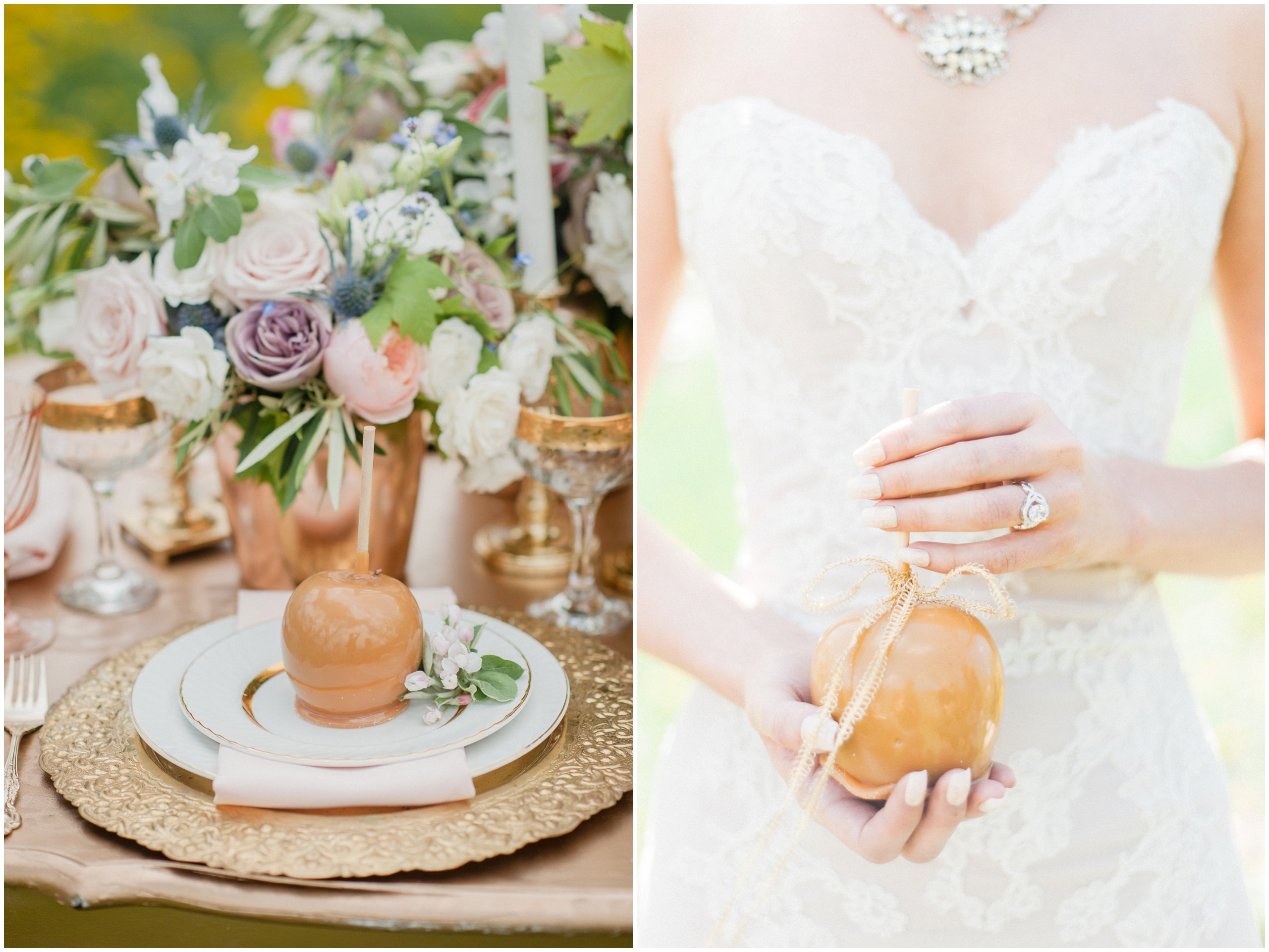 Wedding Inspiration: Wedding table featuring caramel apples, gold charger plates, and gold accents.
