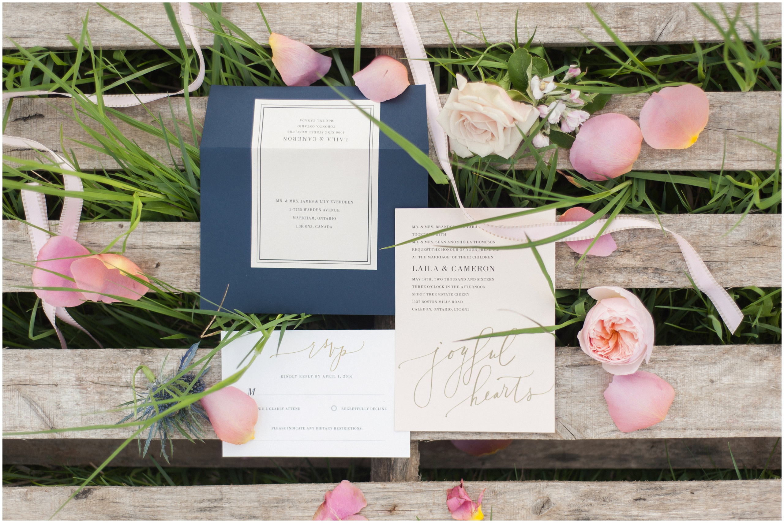 Wedding Inspiration: Gold foil blush wedding invitation styled with ribbon and pink peony.