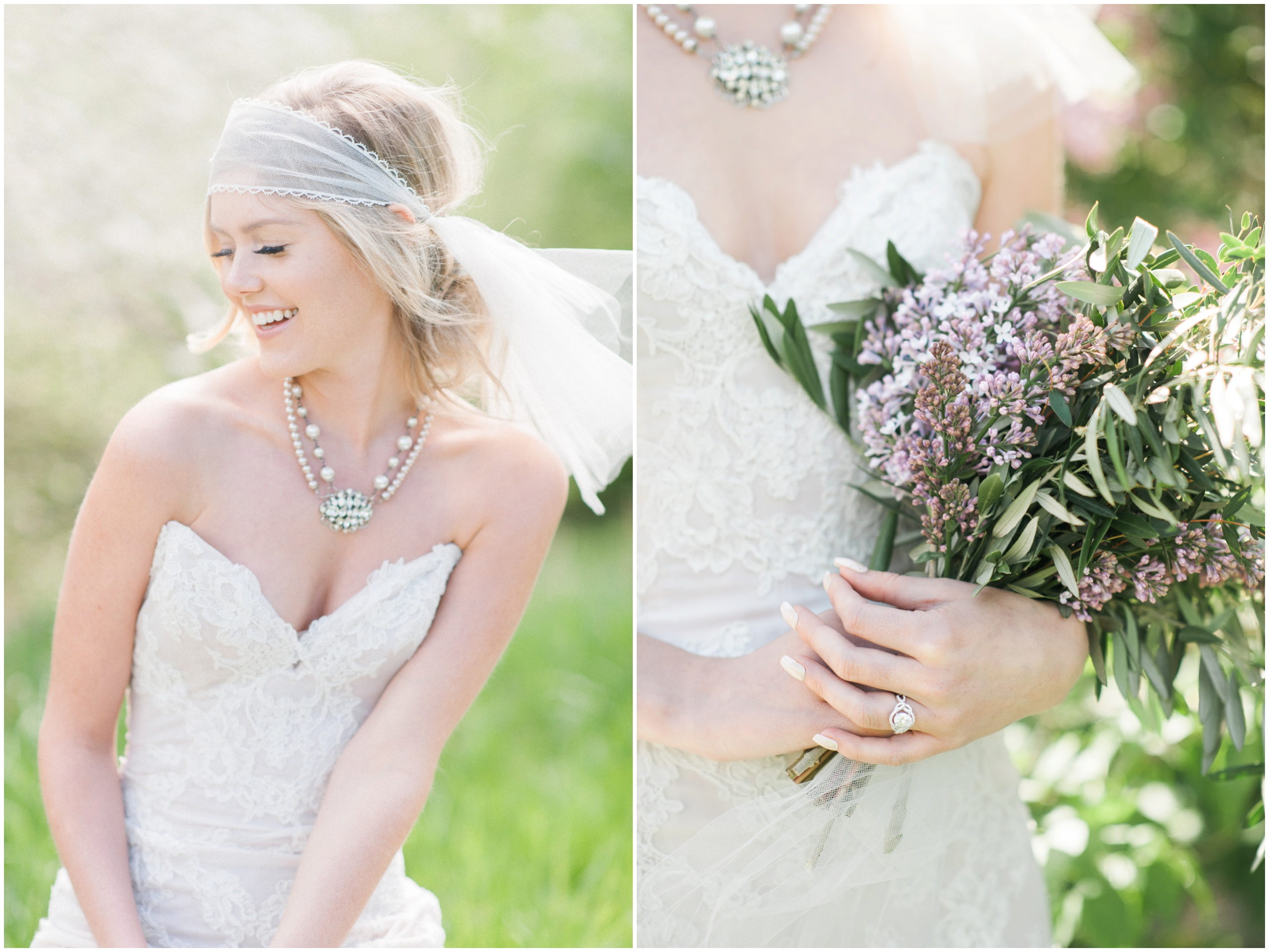 Wedding Inspiration: Bride wearing Ines Di Santo gown, Blair Nadeau veil, Hattitude necklace and Alexis Gallery ring.