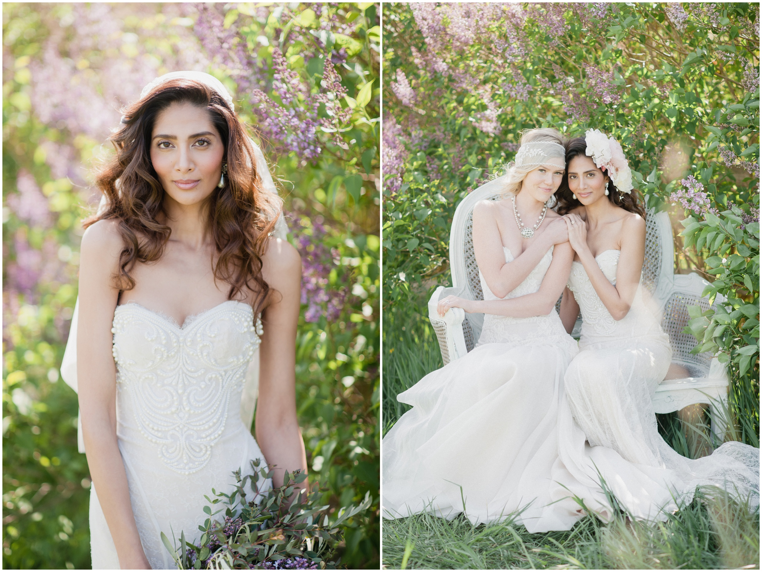 Wedding Inspiration: Brides wearing Hattitude necklaces, Blair Nadeau veils and Ines Di Santo gowns in blooming lilac bush.