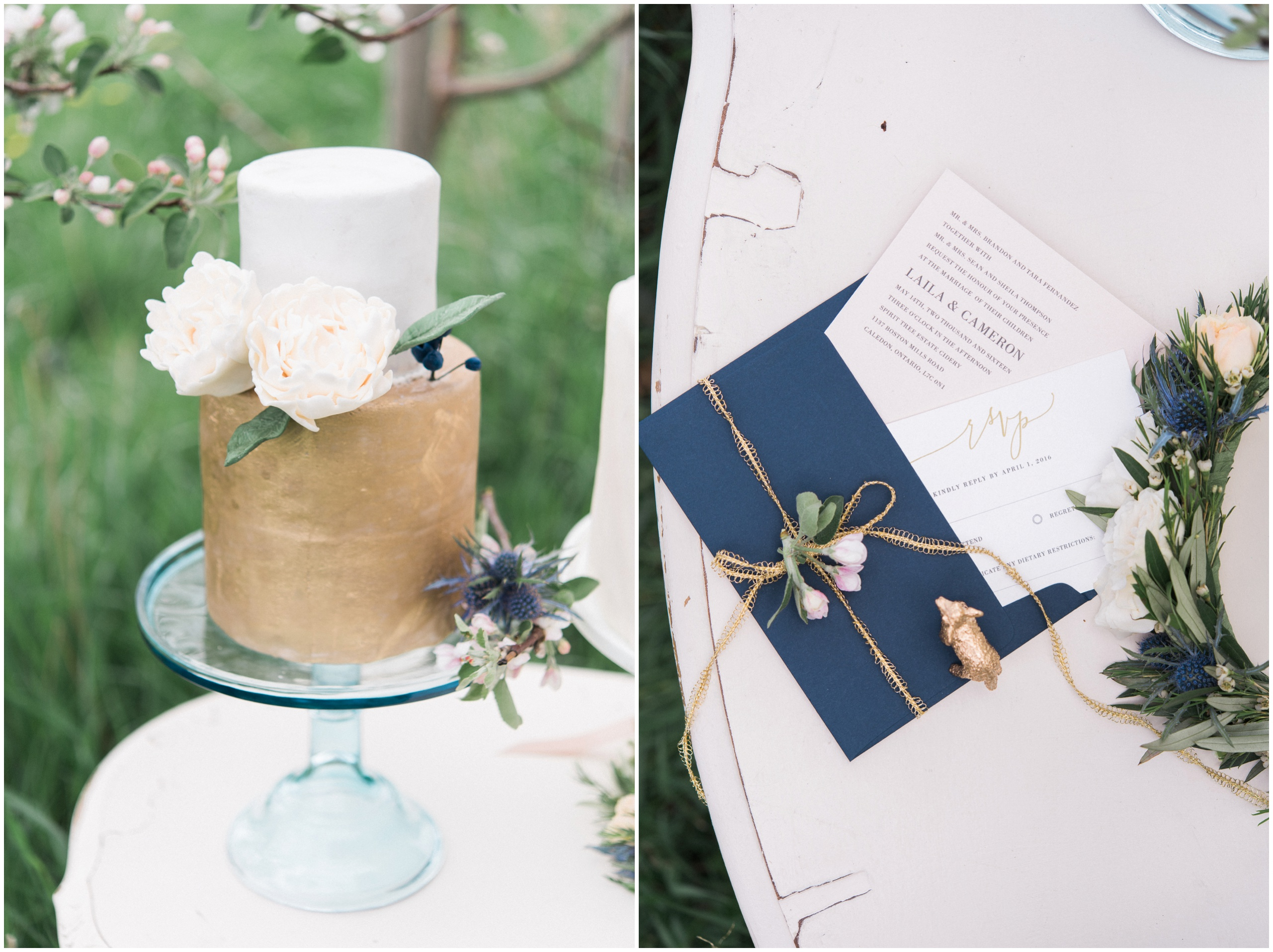 Wedding inspiration: gold and white cake with fondant peonies and blue thistle; navy and gold wedding invitation suite.