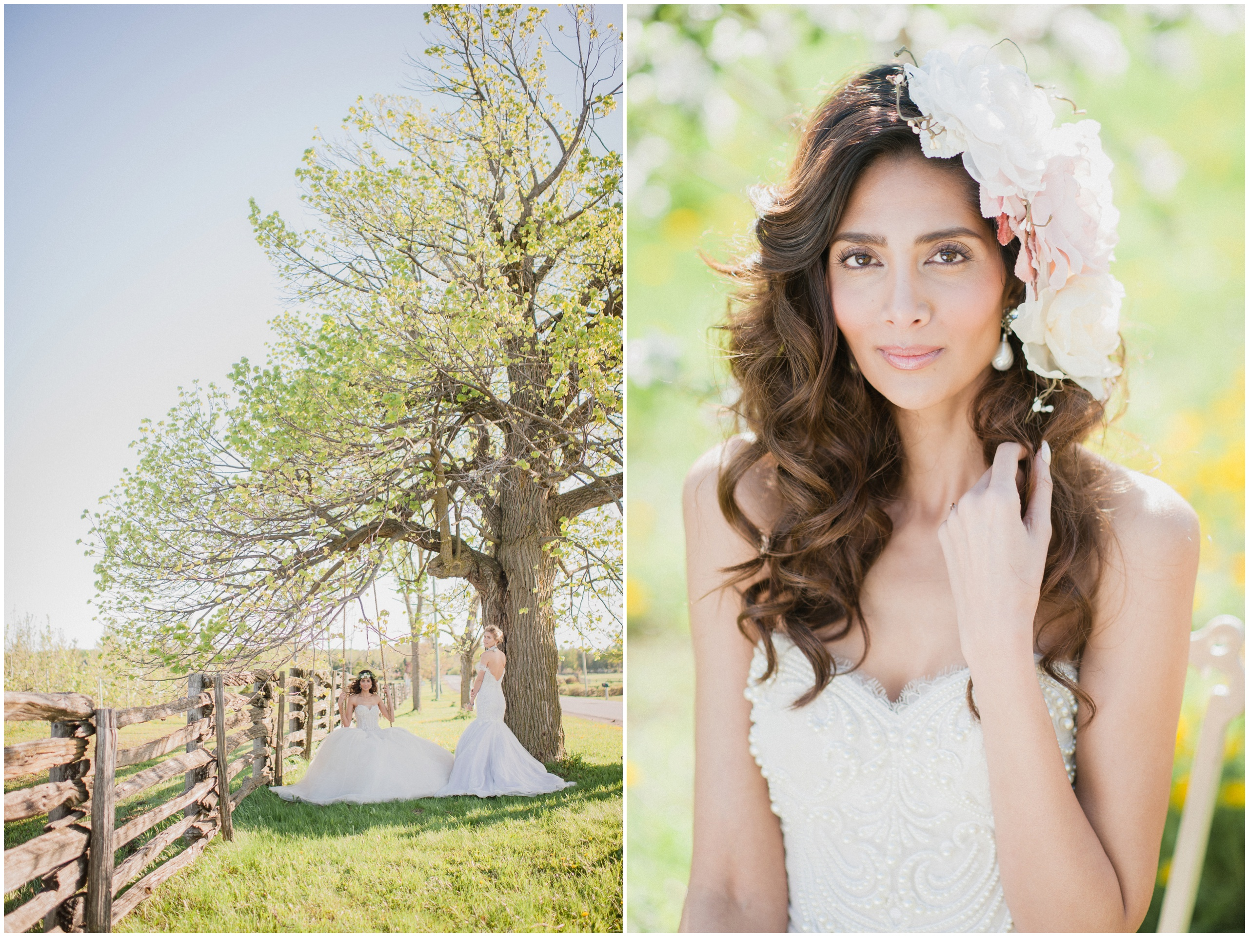 Wedding Inspiration: Bride wearing flower crown and Ines Di Santo gown on rustic wooden swing.