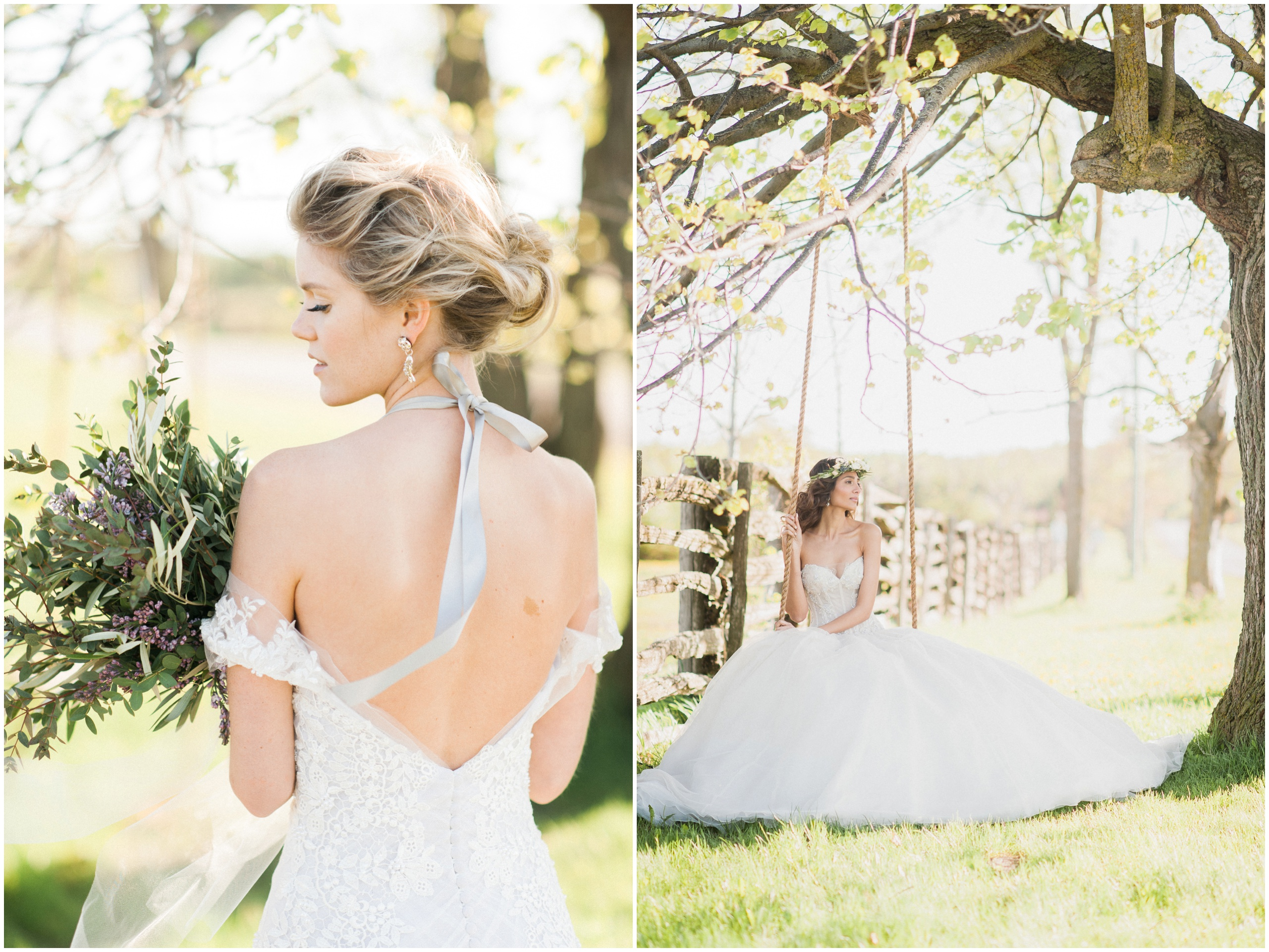 Wedding Inspiration: Bride wearing Hattitude ribbon necklace and Ines Di Santo gown on wooden swing.
