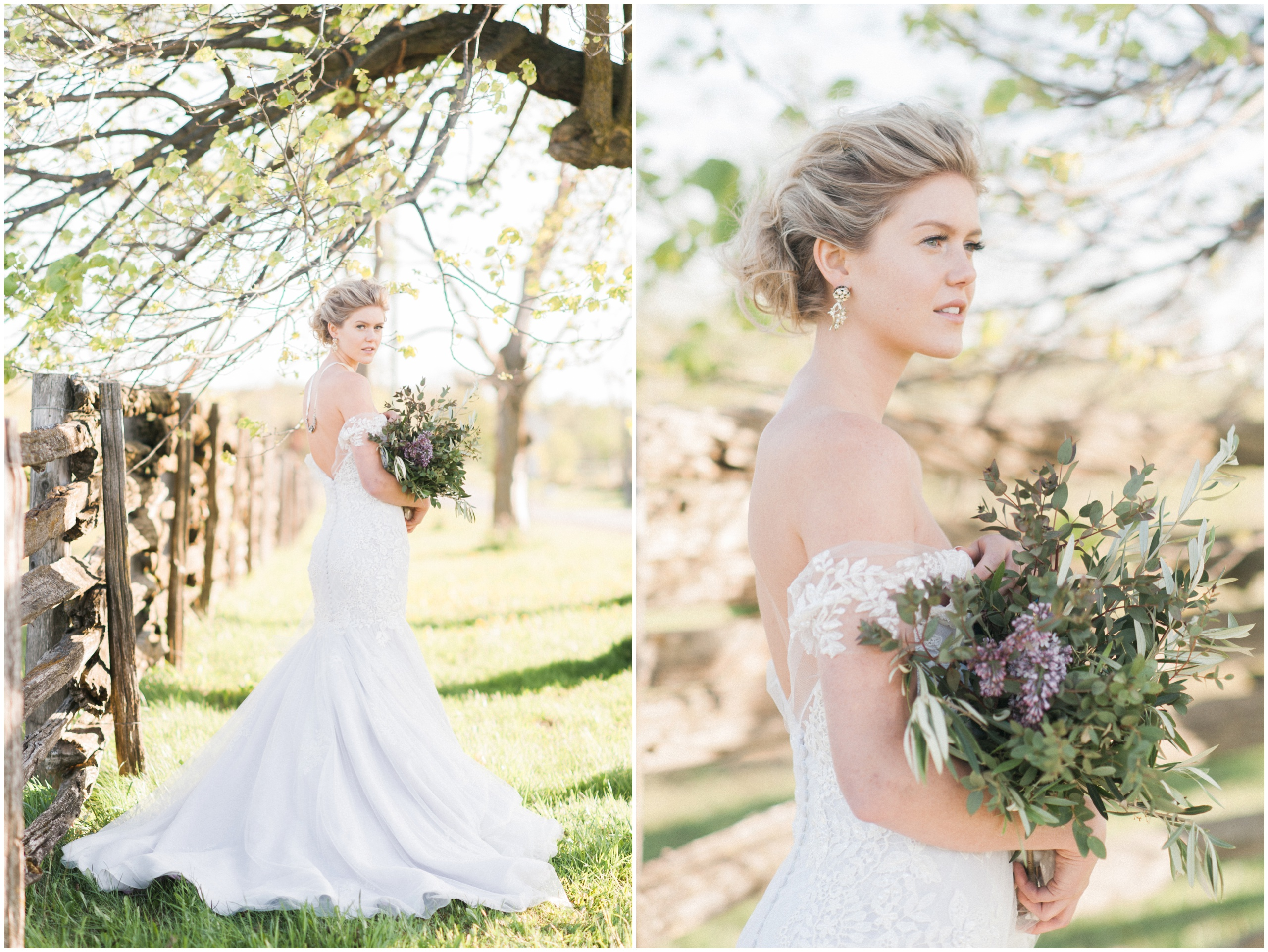 Wedding Inspiration: Bride wearing Hattitude ribbon necklace and Ines Di Santo gown with rustic wild bouquet.