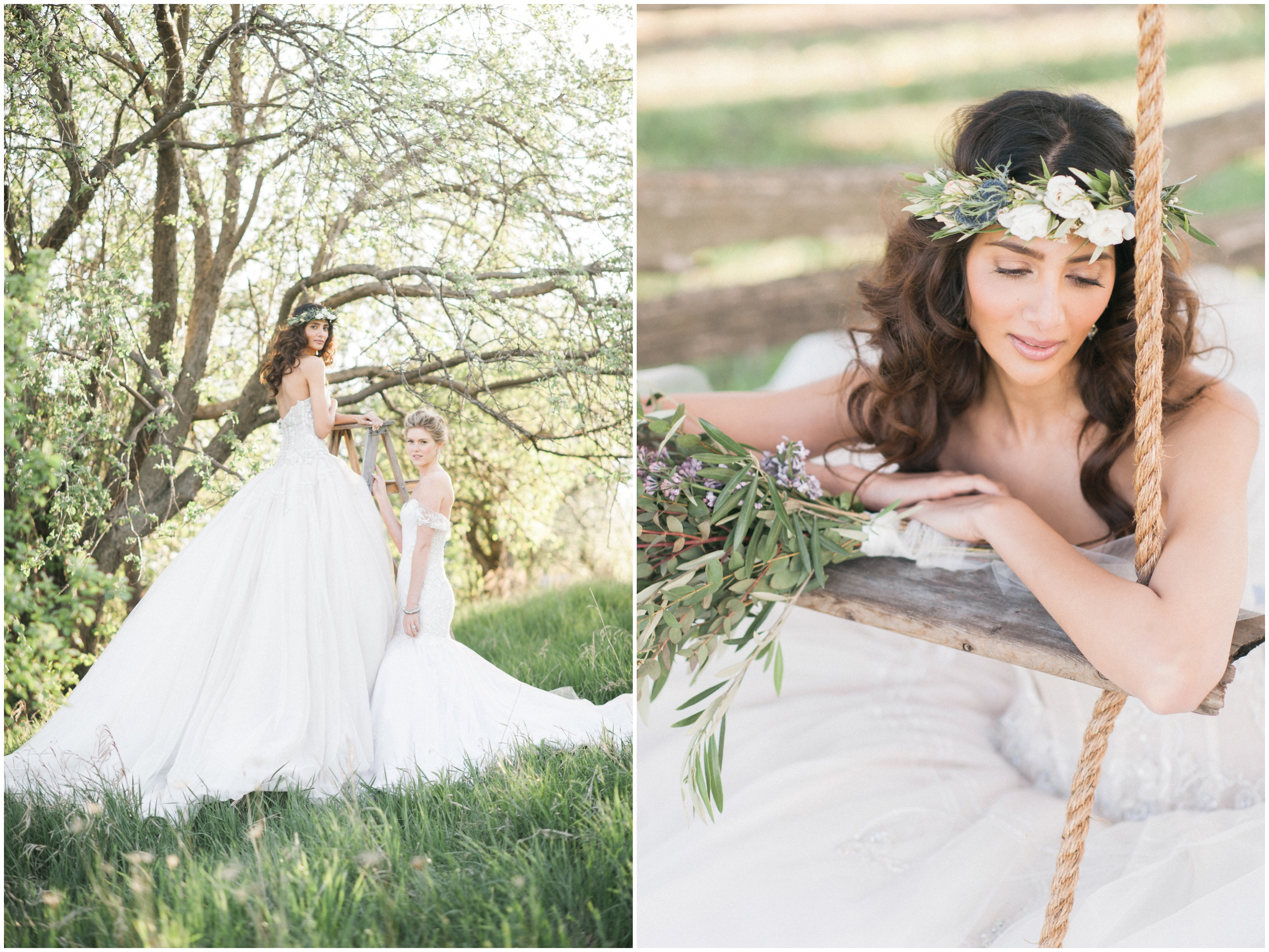 Wedding Inspiration: Brides wearing flower crown and Ines Di Santo gowns on rustic wooden swing.