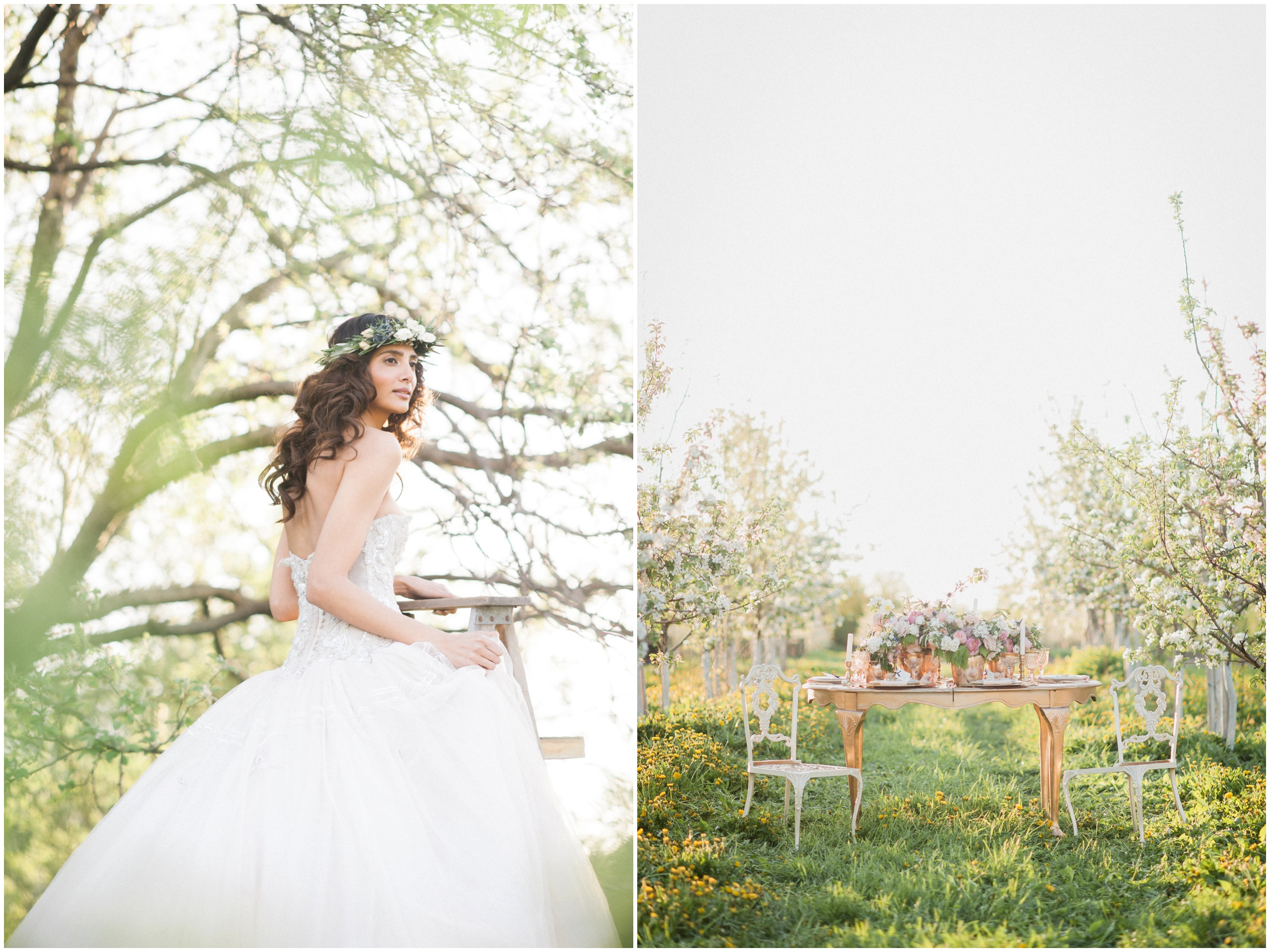 Wedding Inspiration: Bride wearing flower crown and Ines Di Santo gown on rustic wooden ladder.