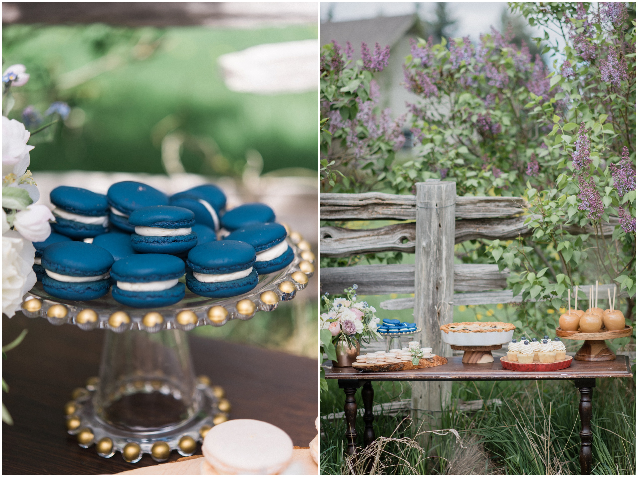 Wedding Inspiration: Navy blue macarons; wedding sweet table with caramel apples, pie and more tasty treats!