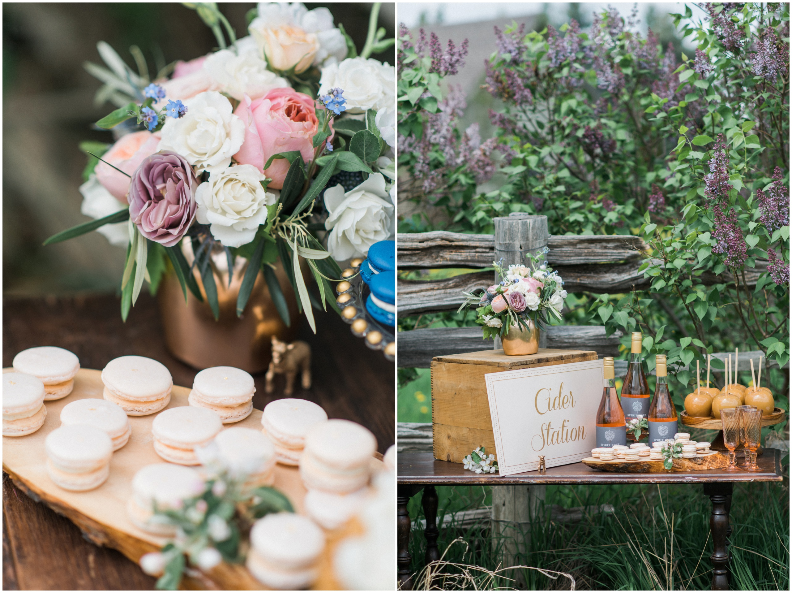 Wedding Inspiration: Cider station wedding table with caramel apples, blush pink macarons and rustic wooden crate.