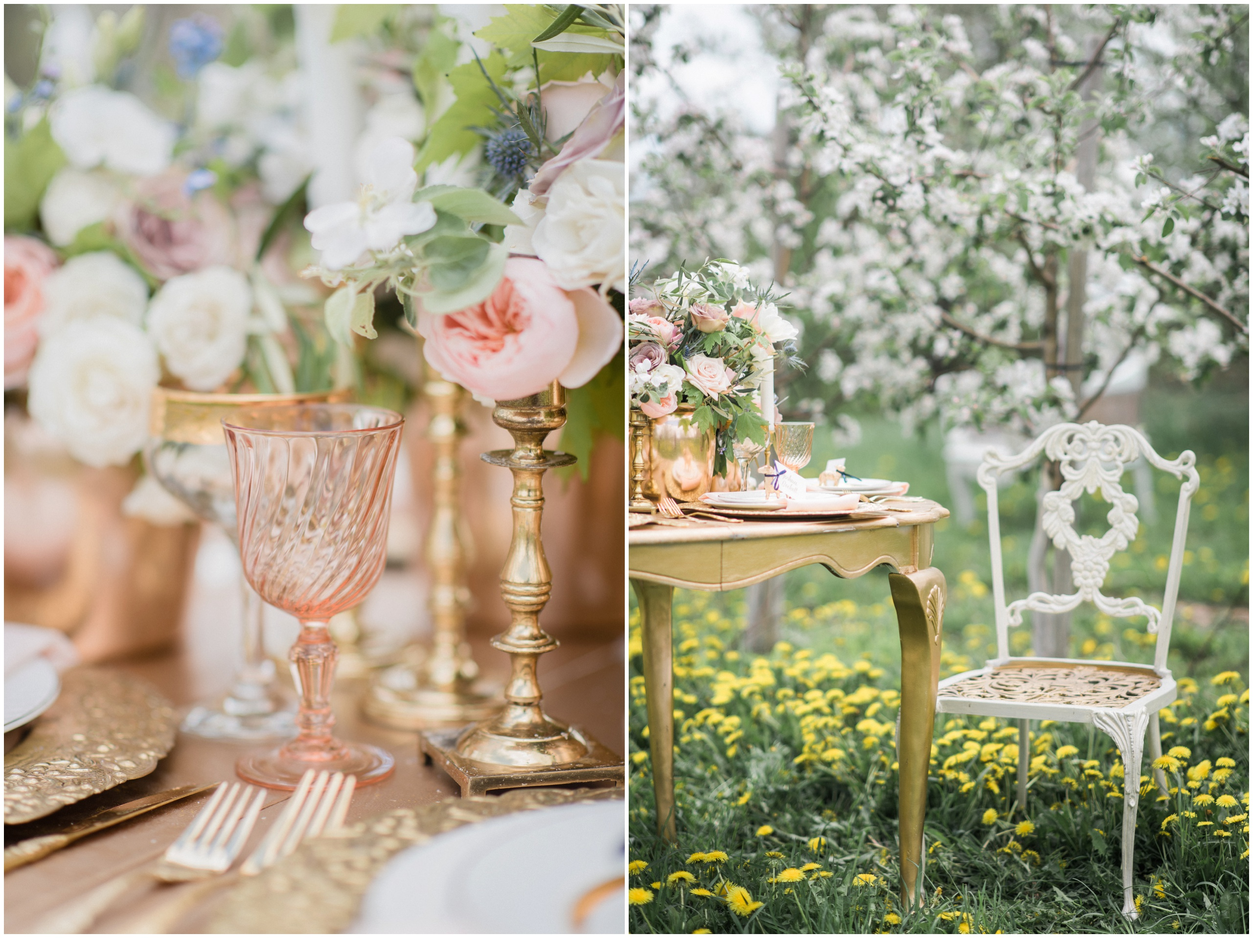Wedding Inspiration: Wedding table featuring blush macarons, gold charger plates, and gold accents.