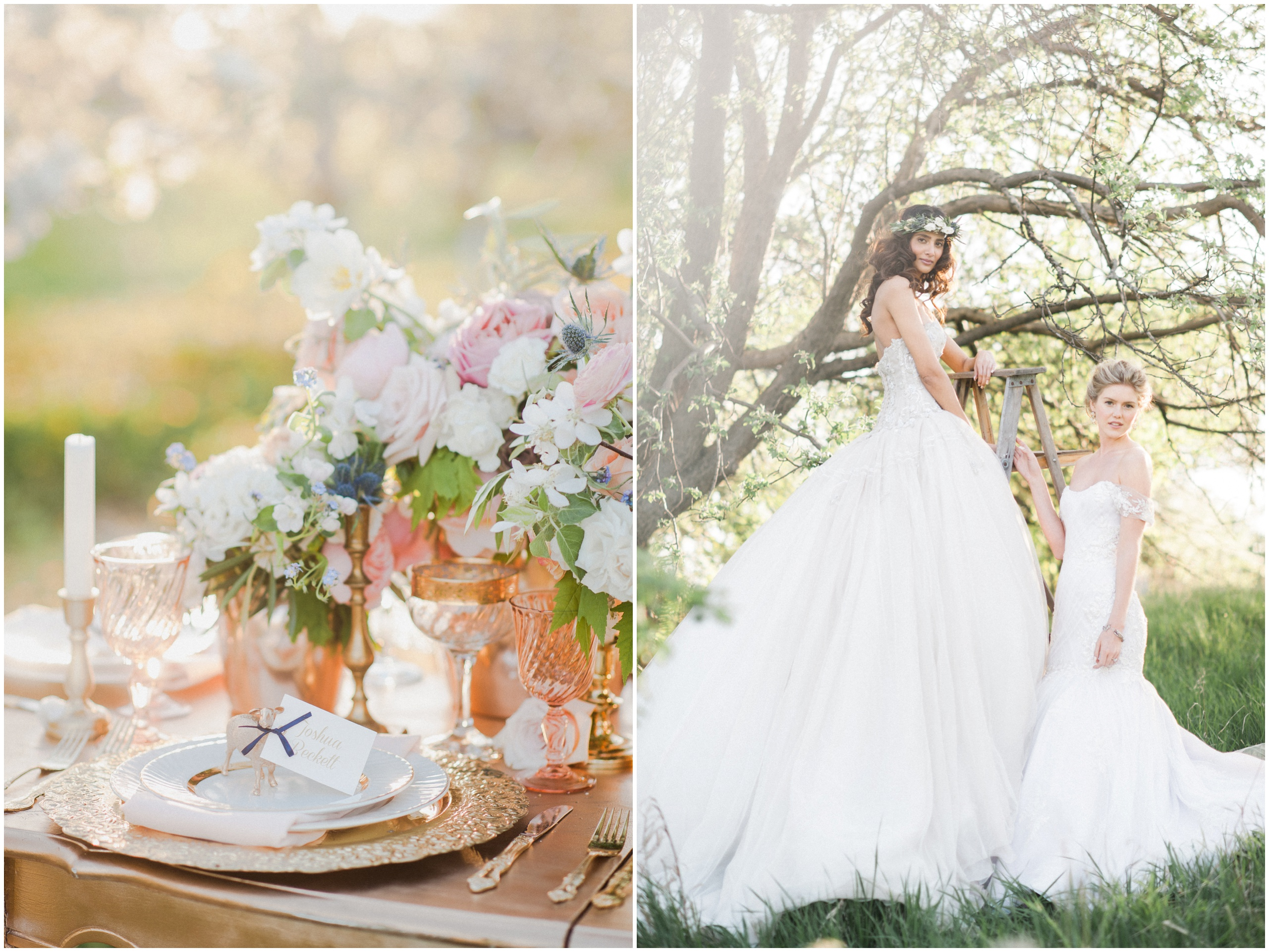 Wedding Inspiration: Bride wearing flower crown and Ines Di Santo gown on rustic wooden ladder; gold accented wedding table.