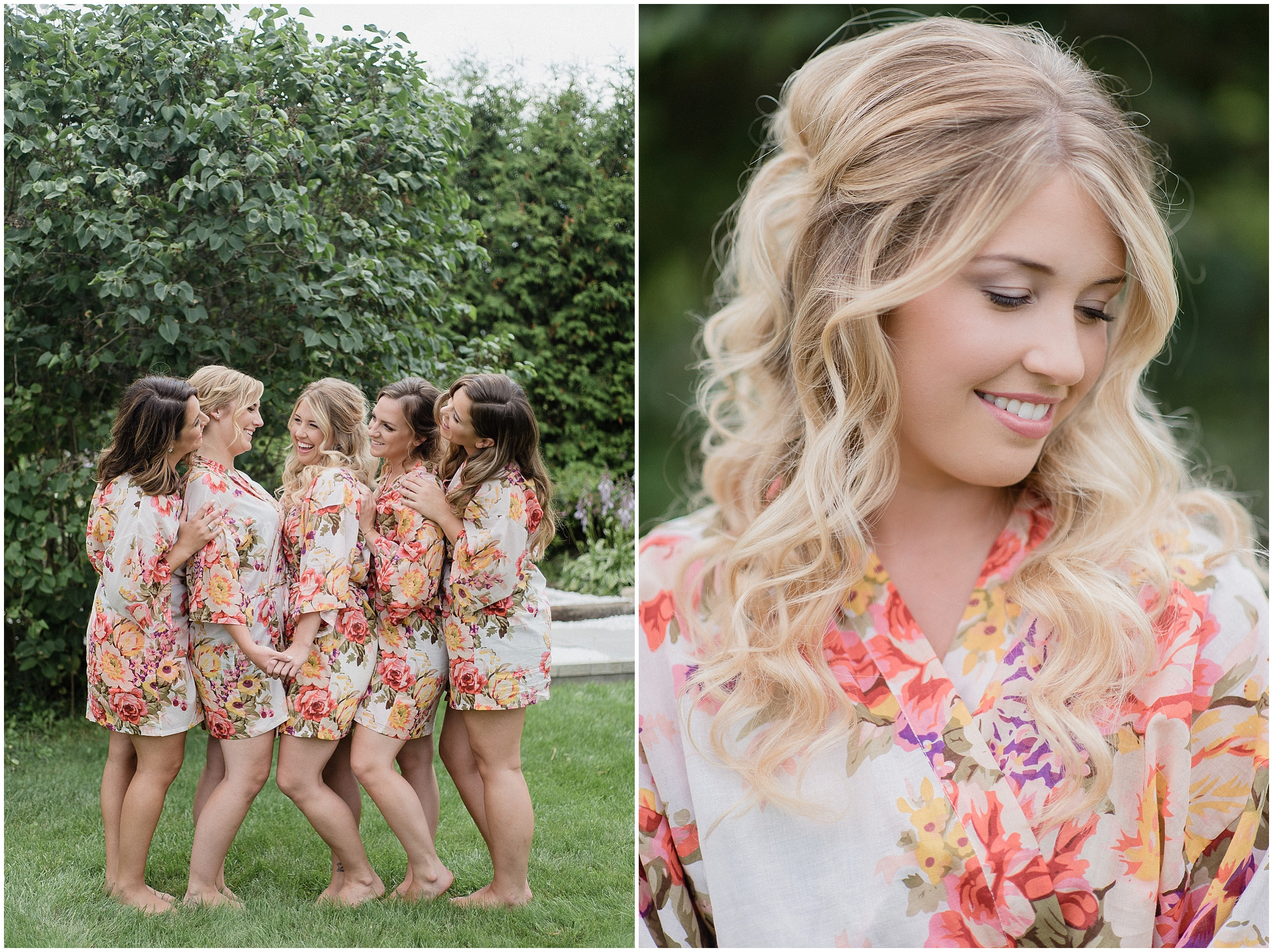 Bride and bridesmaids in floral robes, photographed by Jenn Kavanagh Photography