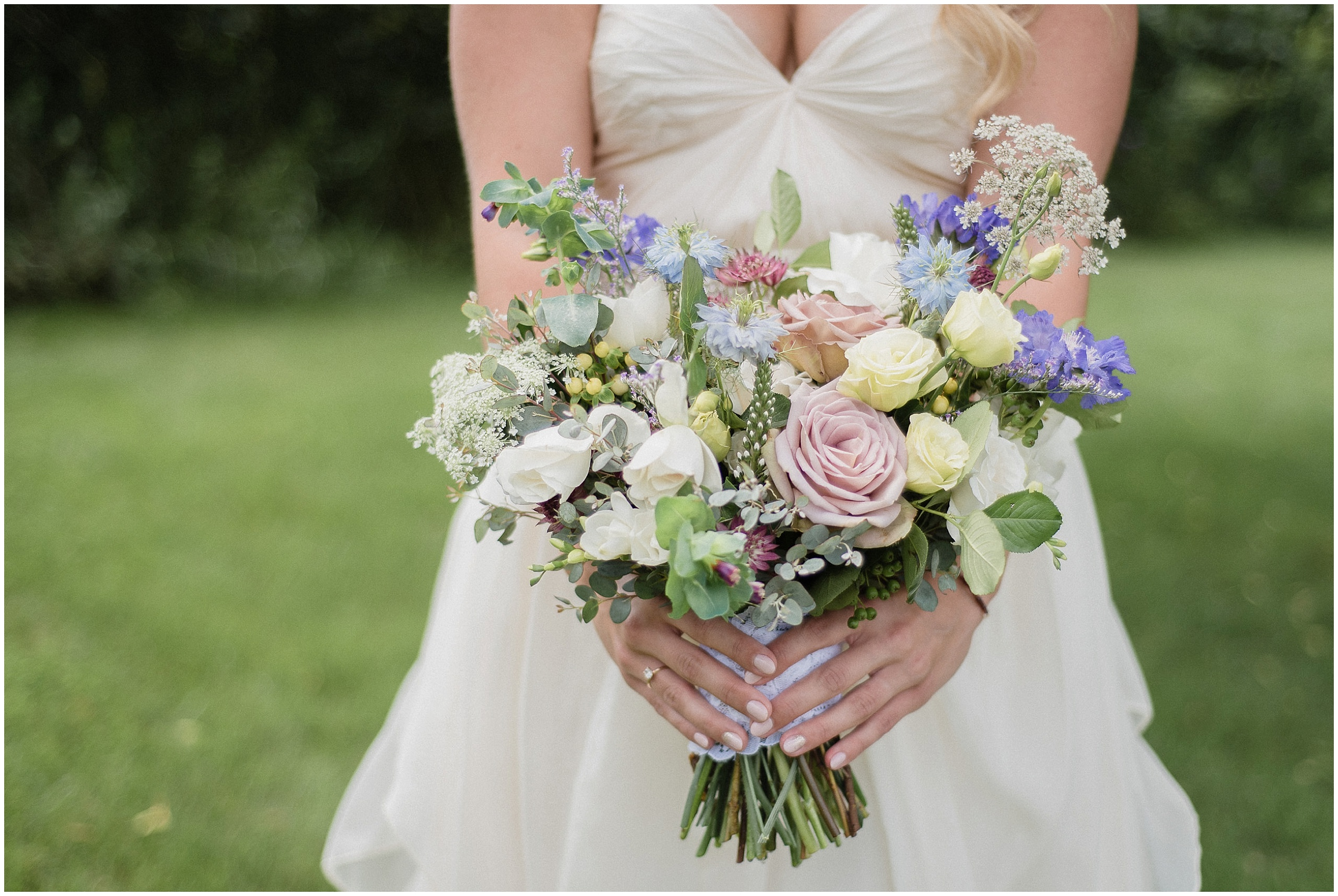 Pastel, garden inspired bouquet by Coriander Girl, photographed by Jenn Kavanagh Photography
