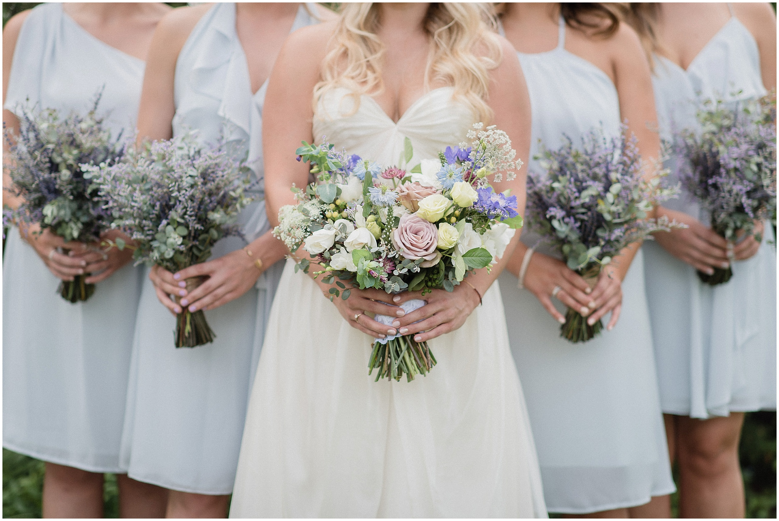Pastel, garden inspired bouquet by Coriander Girl and dried lavender bunches, photographed by Jenn Kavanagh Photography