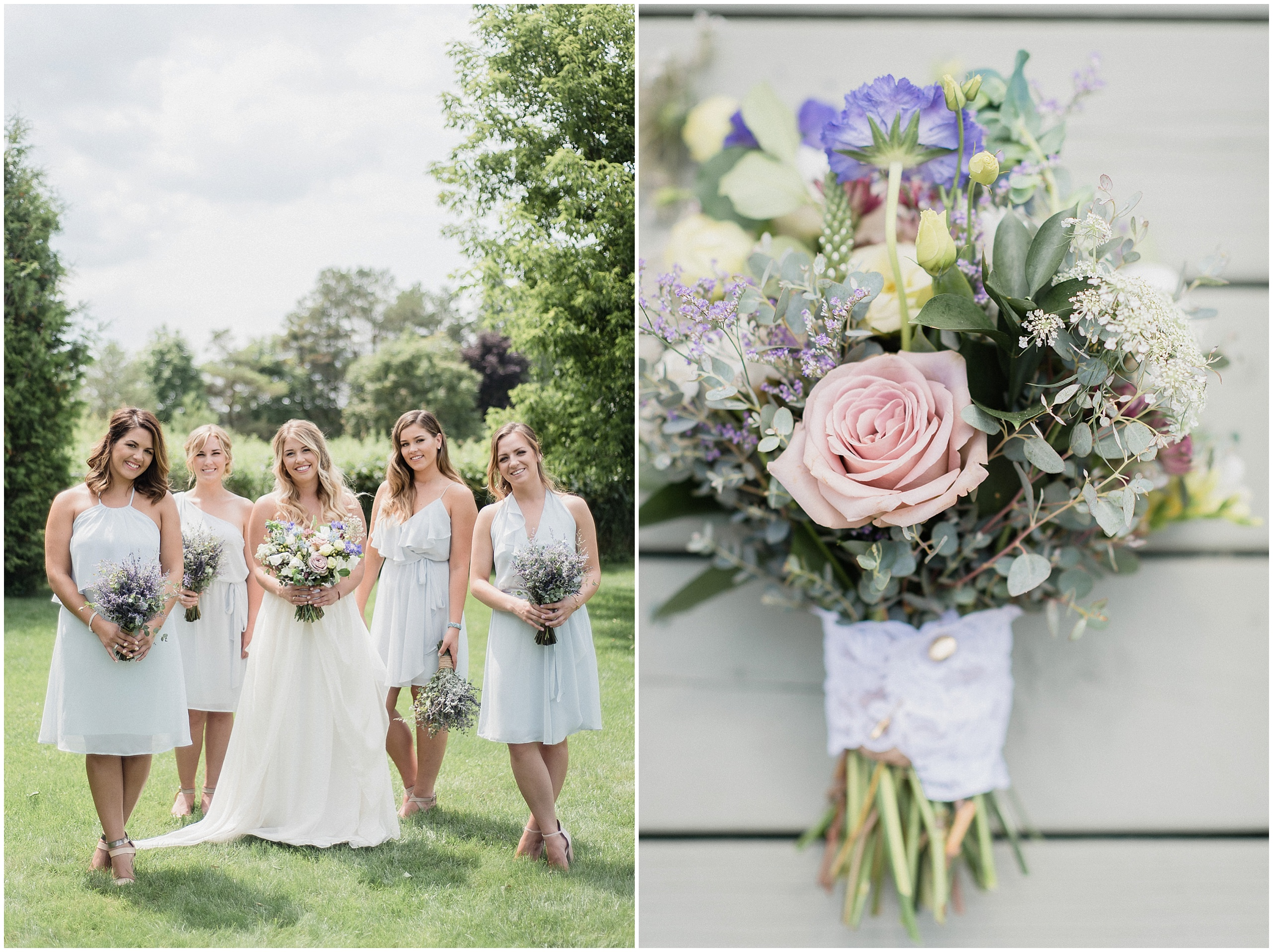 Nouvelle Amsale bridesmaids dresses and Coriander Girl bouqets photographed by Jenn Kavanagh Photography