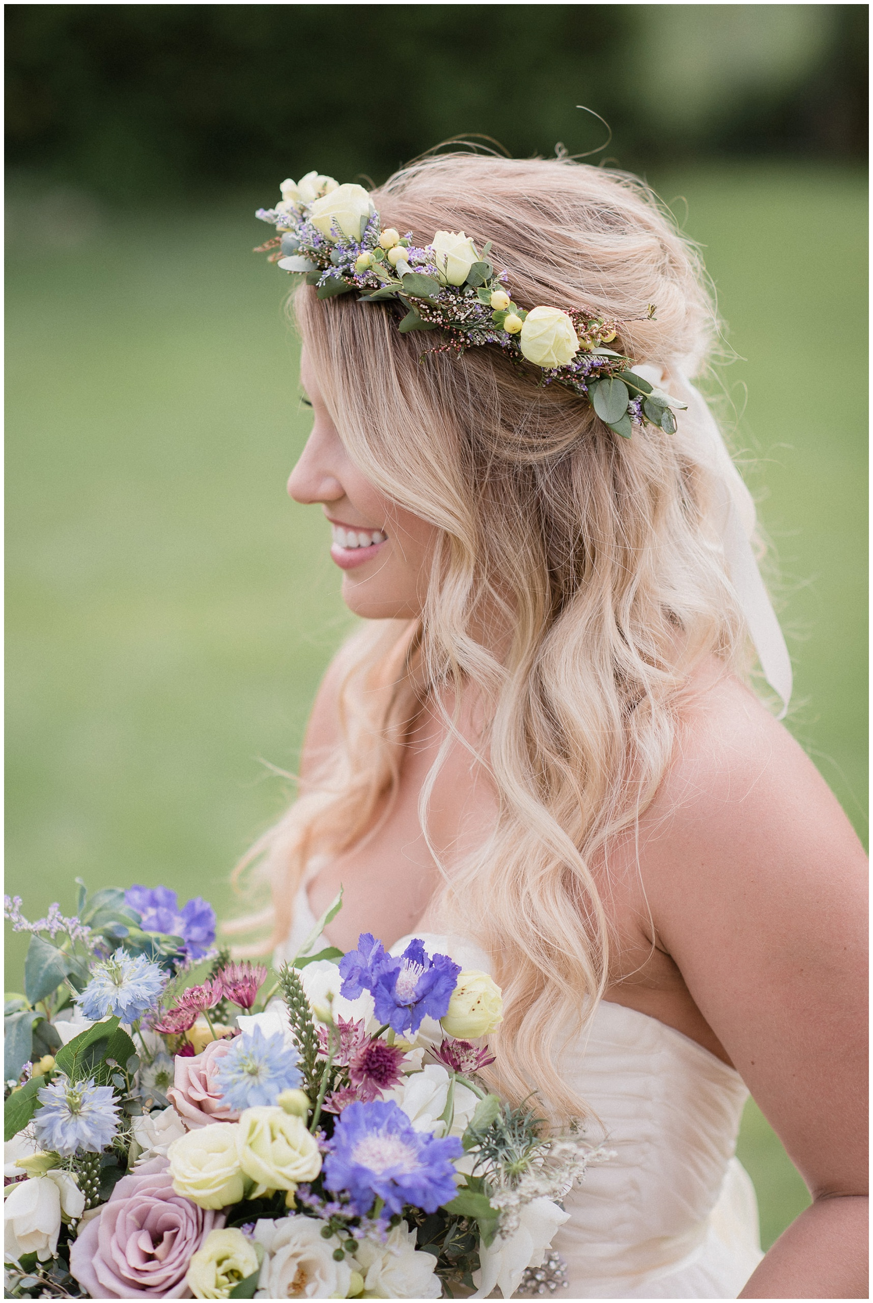Garden party flower crown by Coriander Girl, photographed by Jenn Kavanagh Photography
