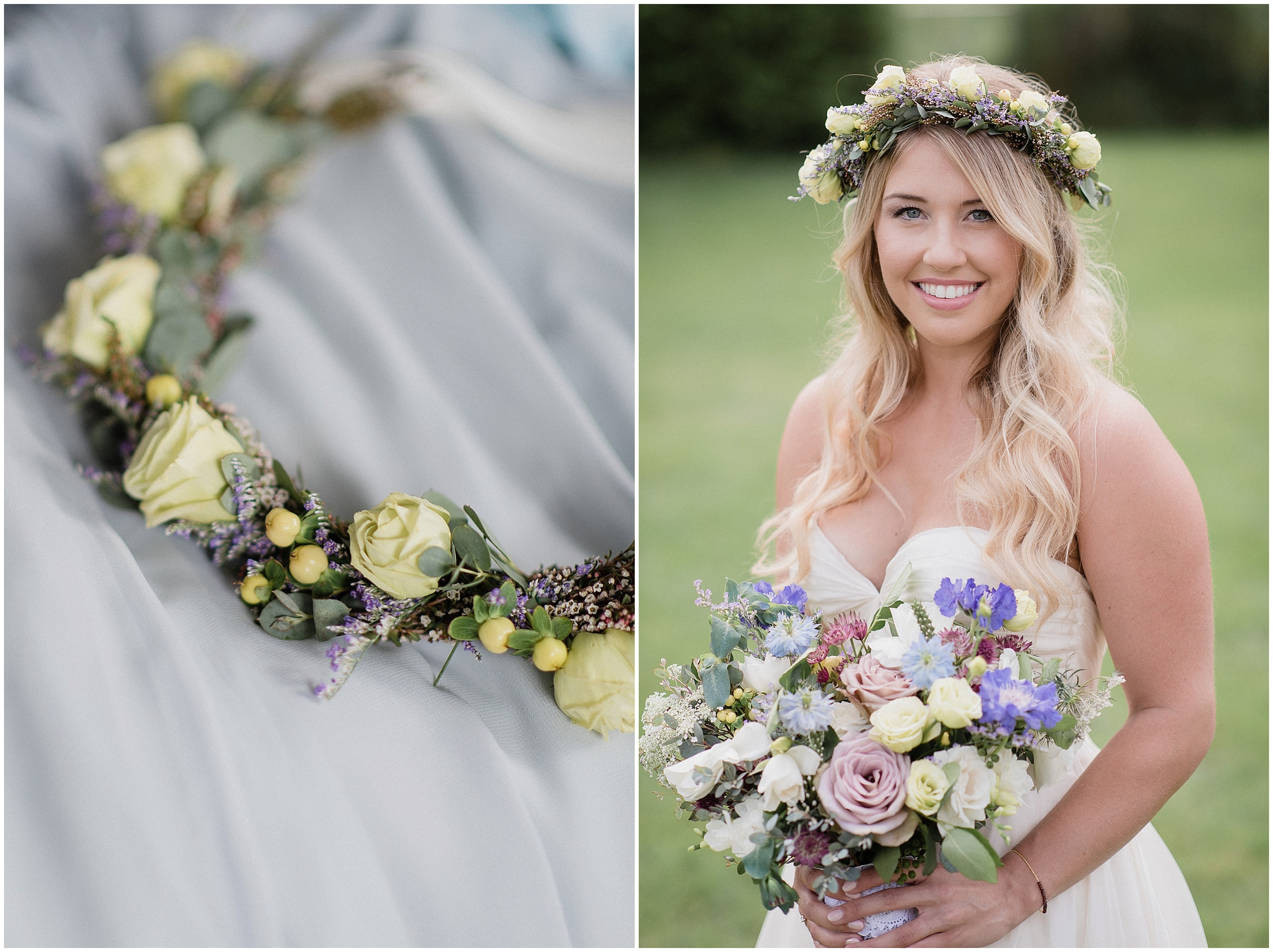 Pastel, garden inspired bouquet and flower crown by Coriander Girl, photographed by Jenn Kavanagh Photography