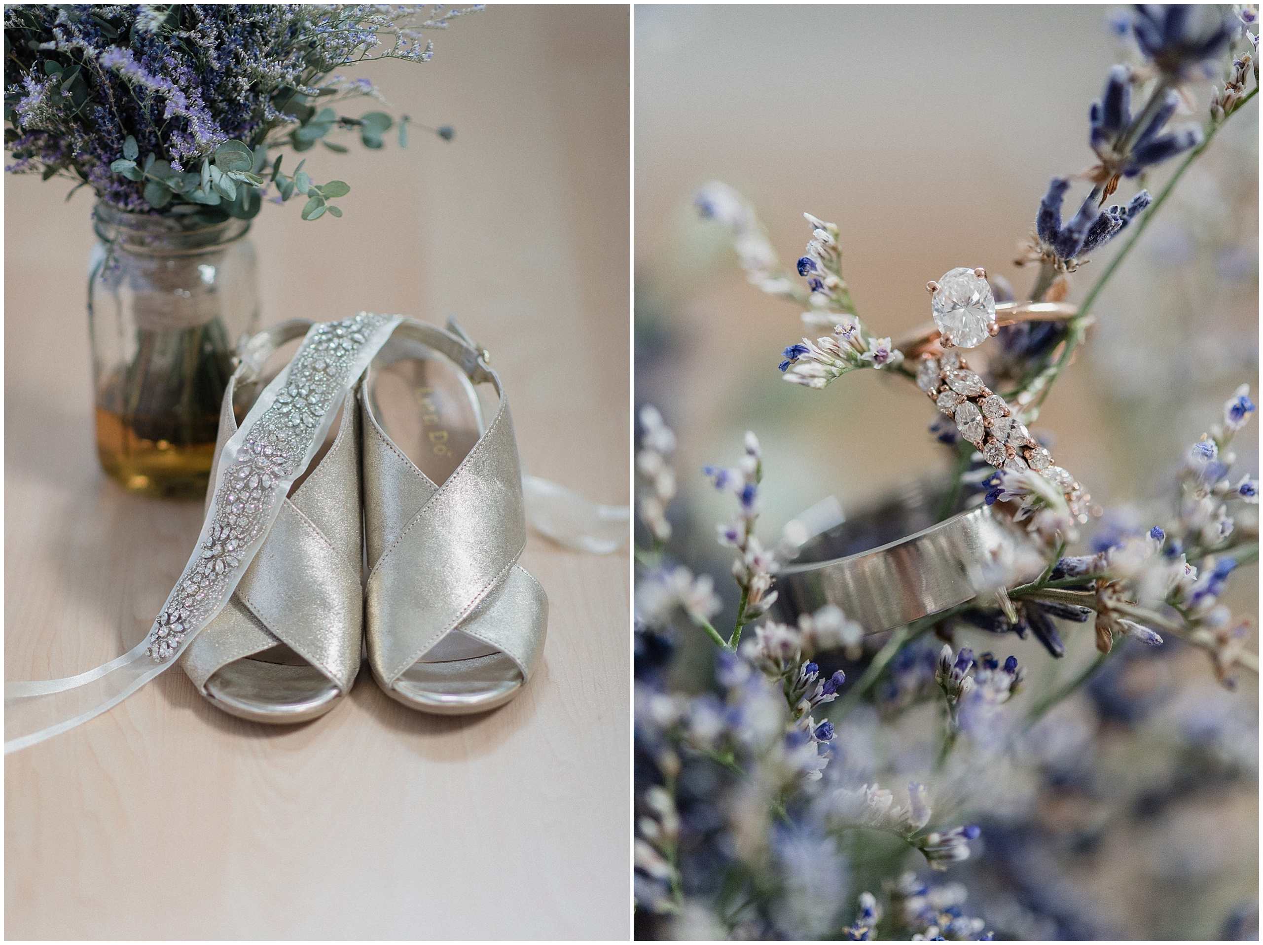 Dried lavender bouquet and marquis vintage wreath ring