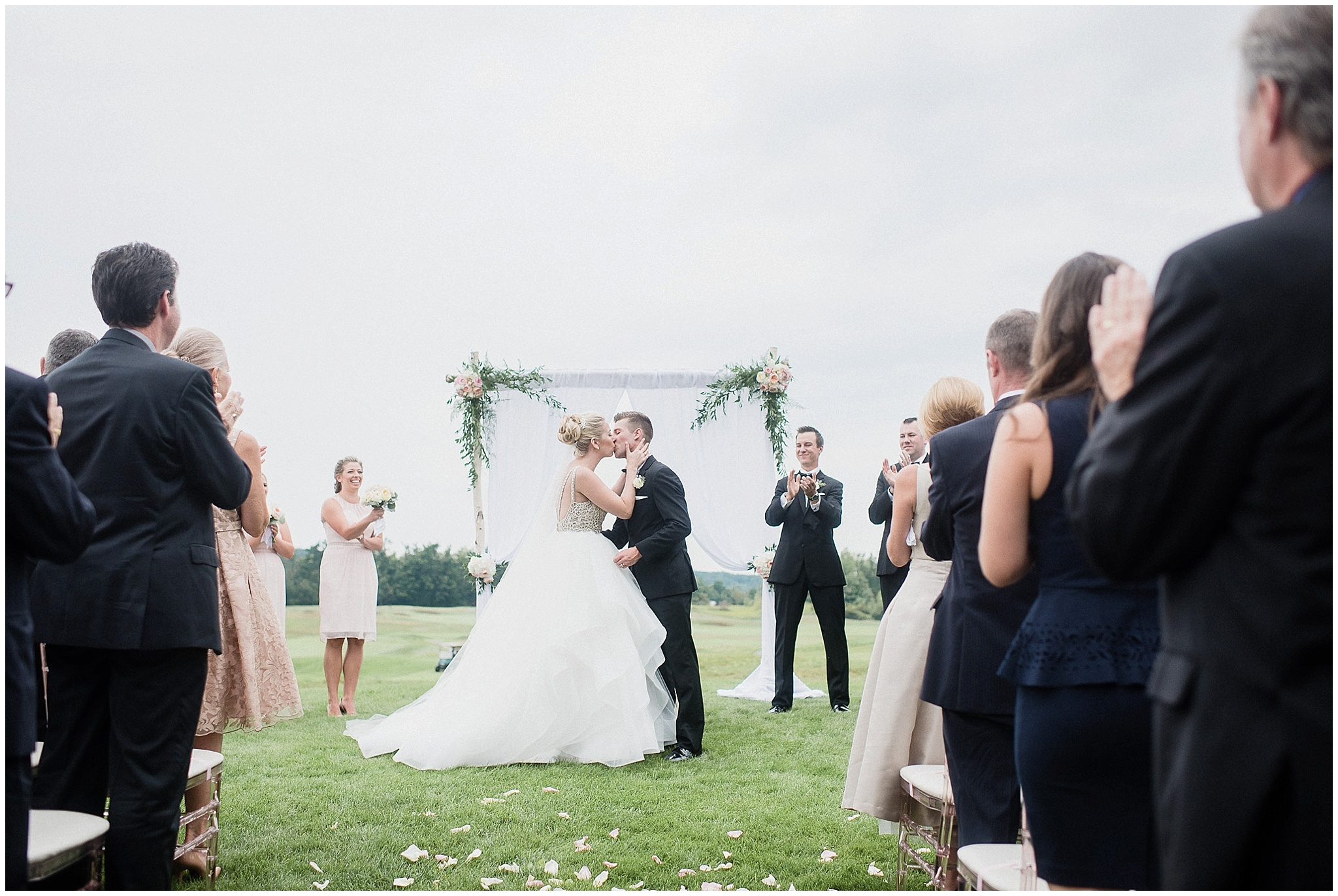First kiss at this Glencairn wedding photographed by Jenn Kavanagh Photography