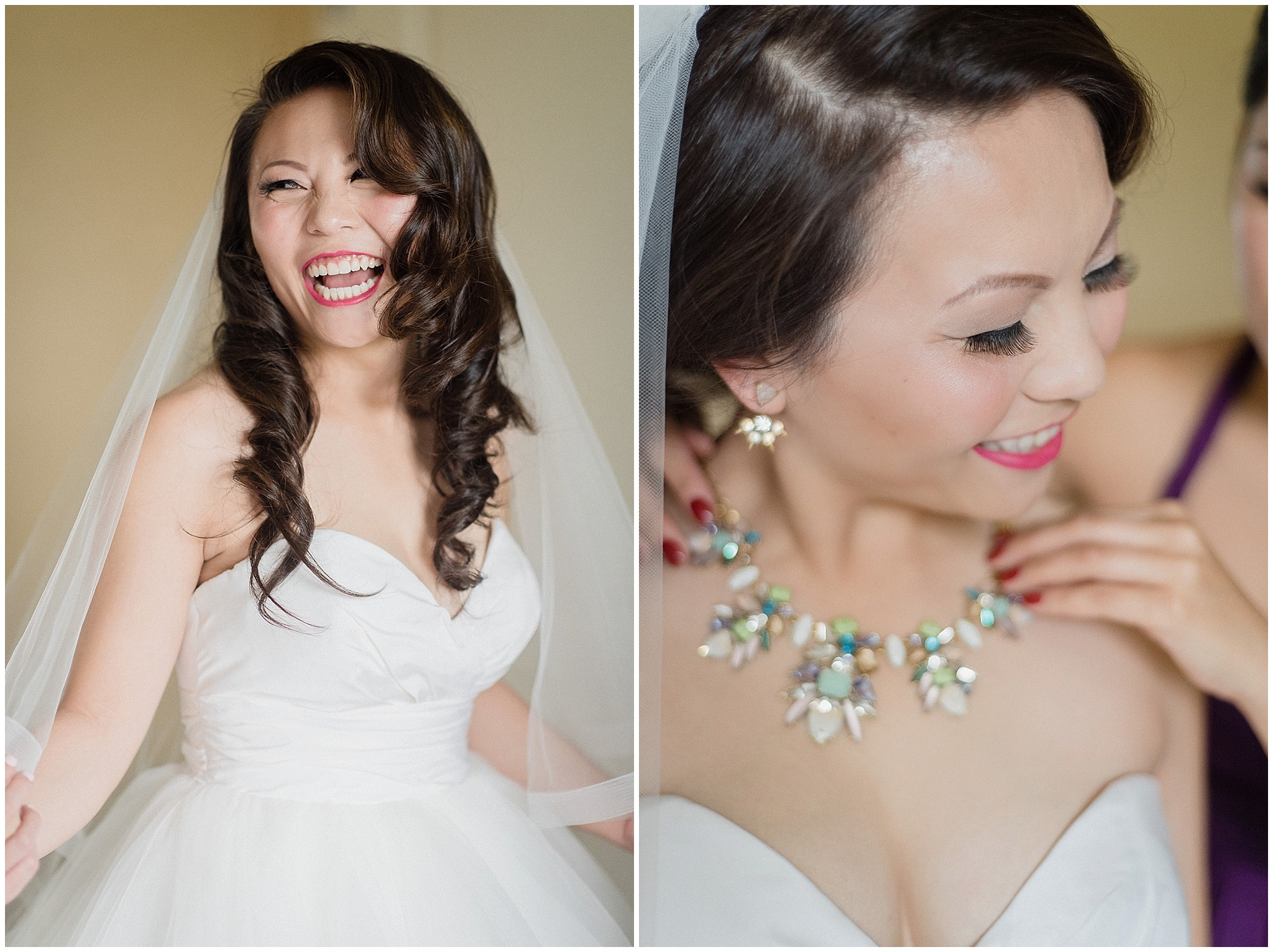 Glowing bride in Hayley Paige gown and Stella & Dot necklace photographed by Jenn Kavanagh Photography