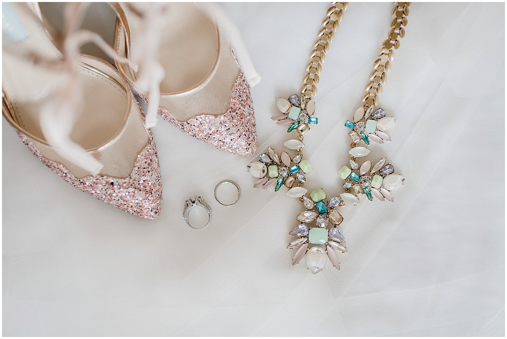 Bridal Details: Stella & Dot necklace and Betsey Johnson heels photographed by Jenn Kavanagh Photography