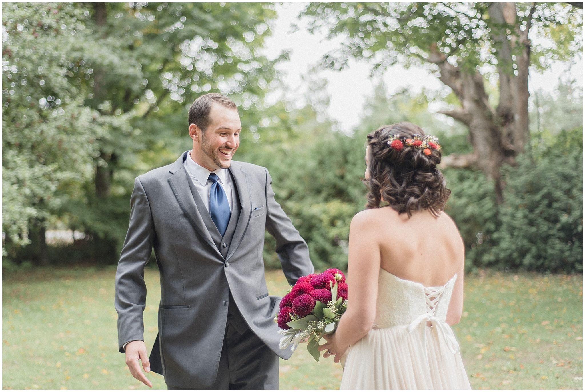 Bride and groom first look   The first look at this LazyDayz Bed & Breakfast wedding by Jenn Kavanagh Photography