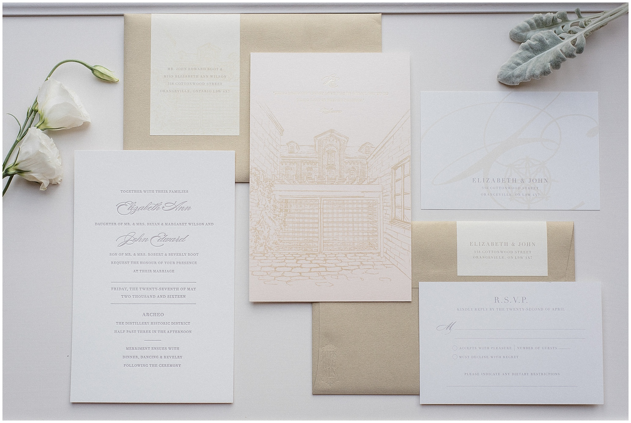 Blush, Champagne and Cream Wedding Invitation Suite by Ferris Wheel Press, Palettera | Distillery District wedding by Jenn Kavanagh Photography