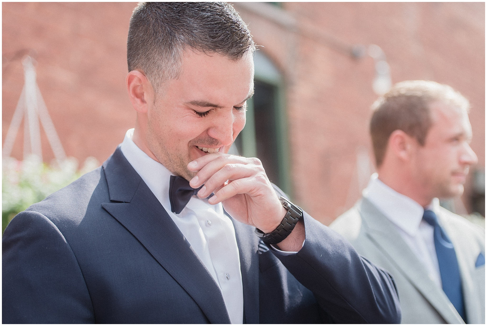 Groom's reaction | Distillery District wedding by Jenn Kavanagh Photography