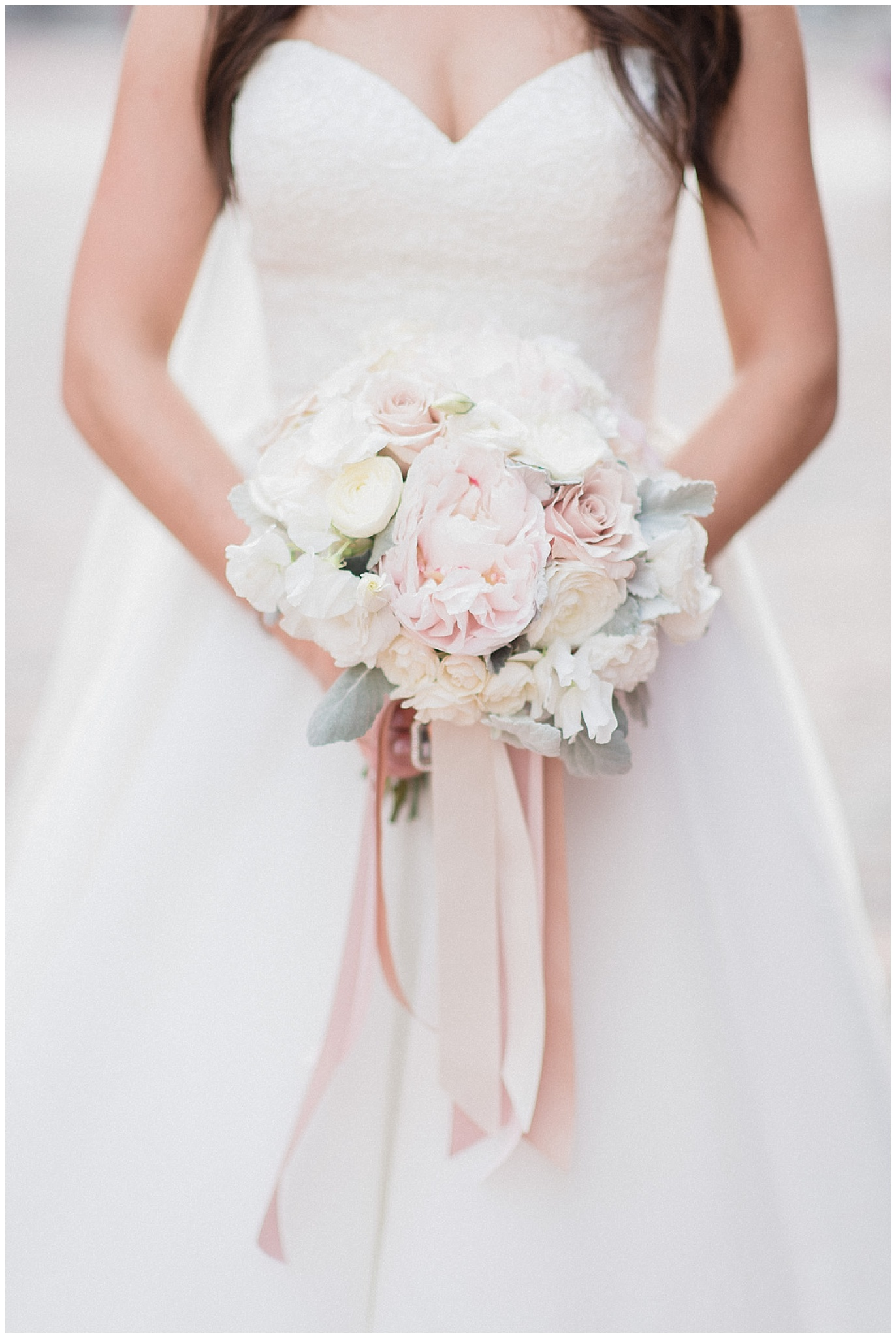 Blush, cream and soft green bride's bouquet | Distillery District wedding by Jenn Kavanagh Photography