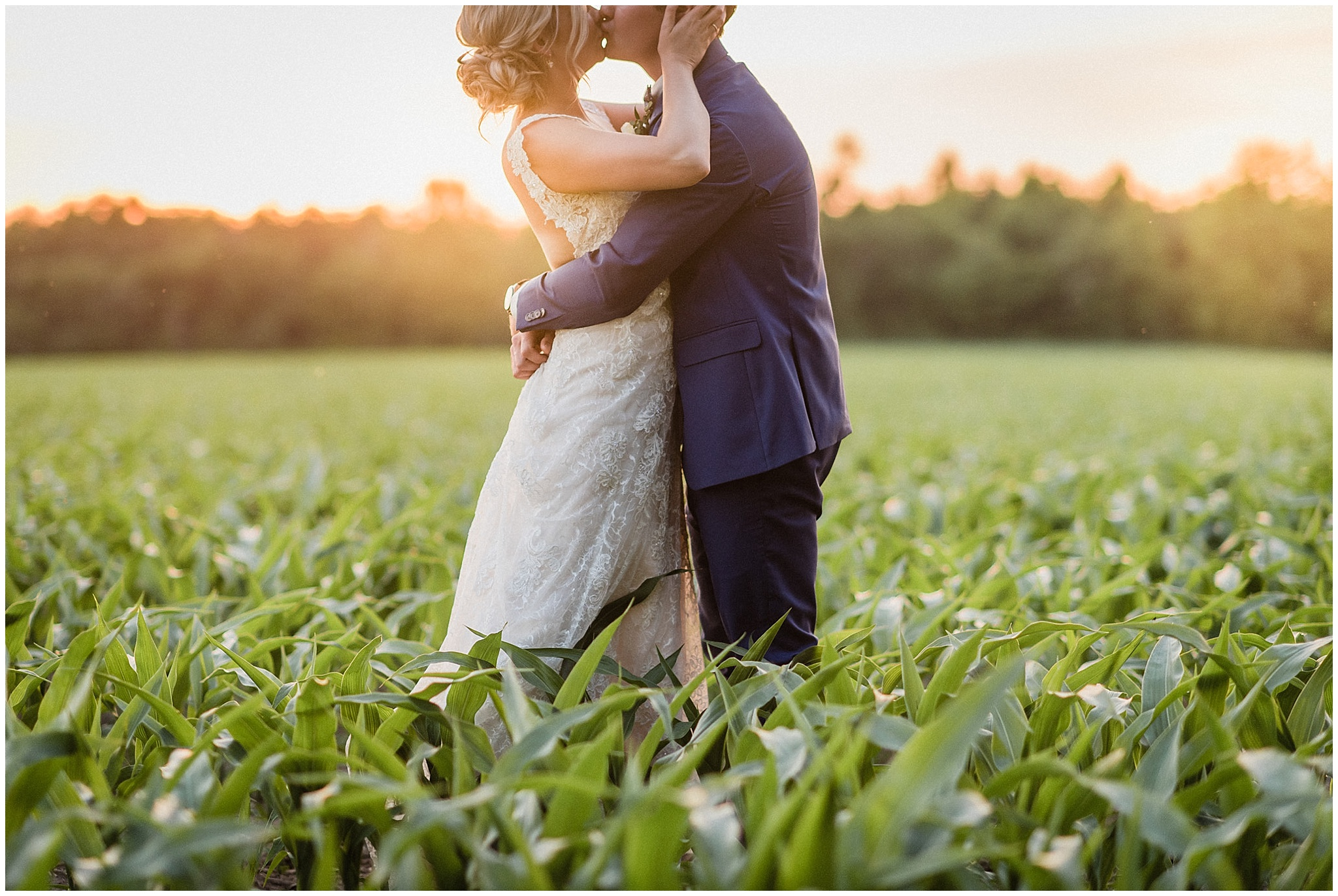 Beautiful sunset portraits of the bride and groom | Tent wedding on family farm in Guelph, Ontario by Jenn Kavanagh Photography