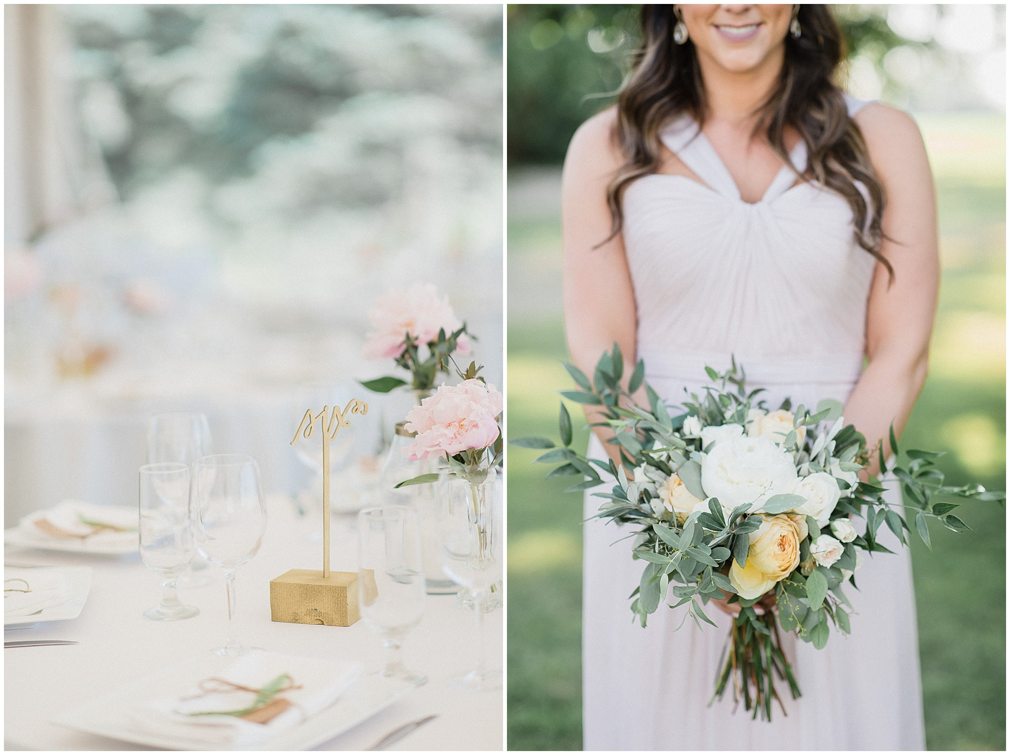 Pastel Amsale bridesmaid dress with hand tied bouquet | Tent wedding on family farm in Guelph, Ontario by Jenn Kavanagh Photography