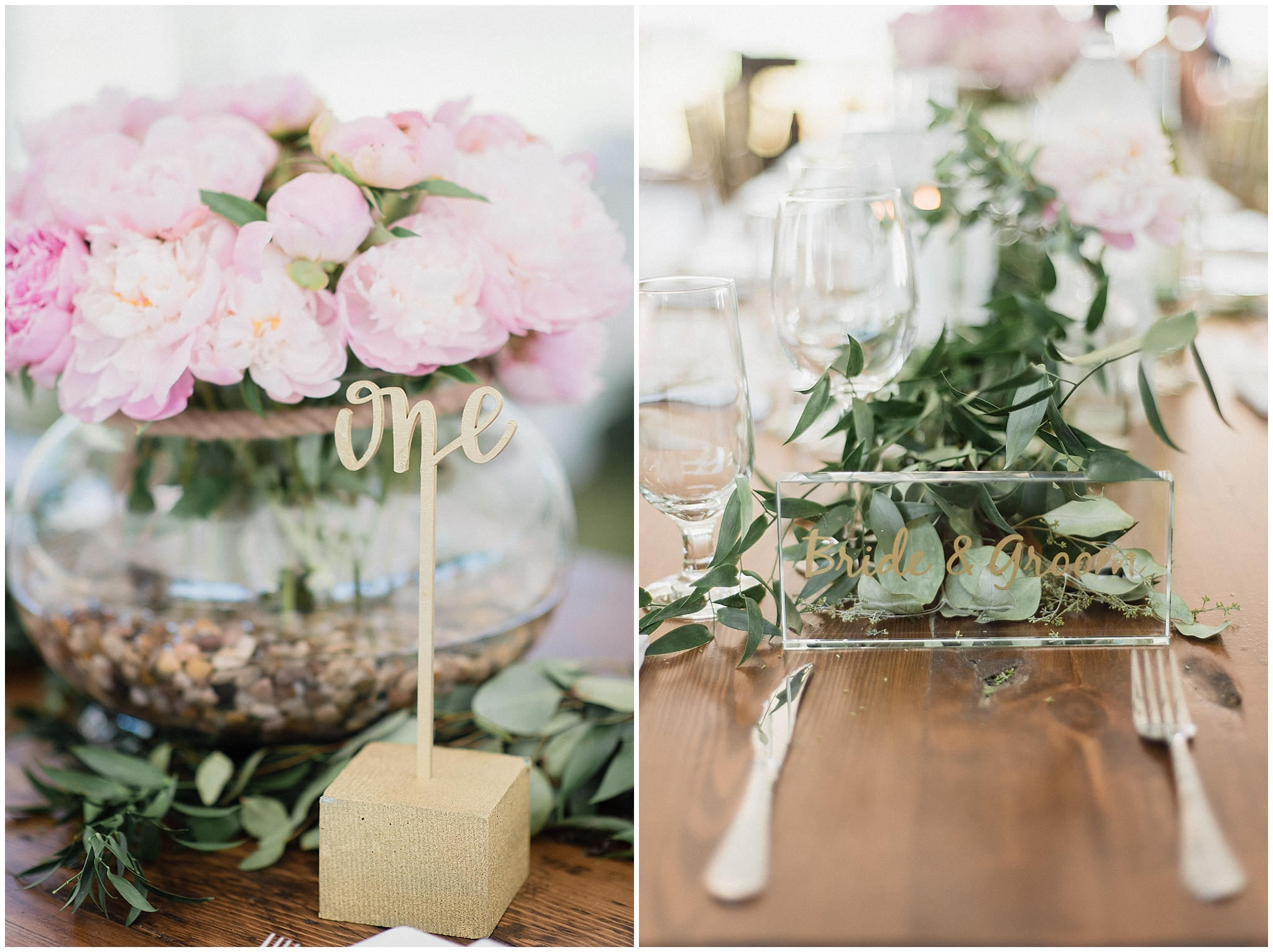 Harvest table with garland centerpeice and gold table numbers | Tent wedding on family farm in Guelph, Ontario by Jenn Kavanagh Photography