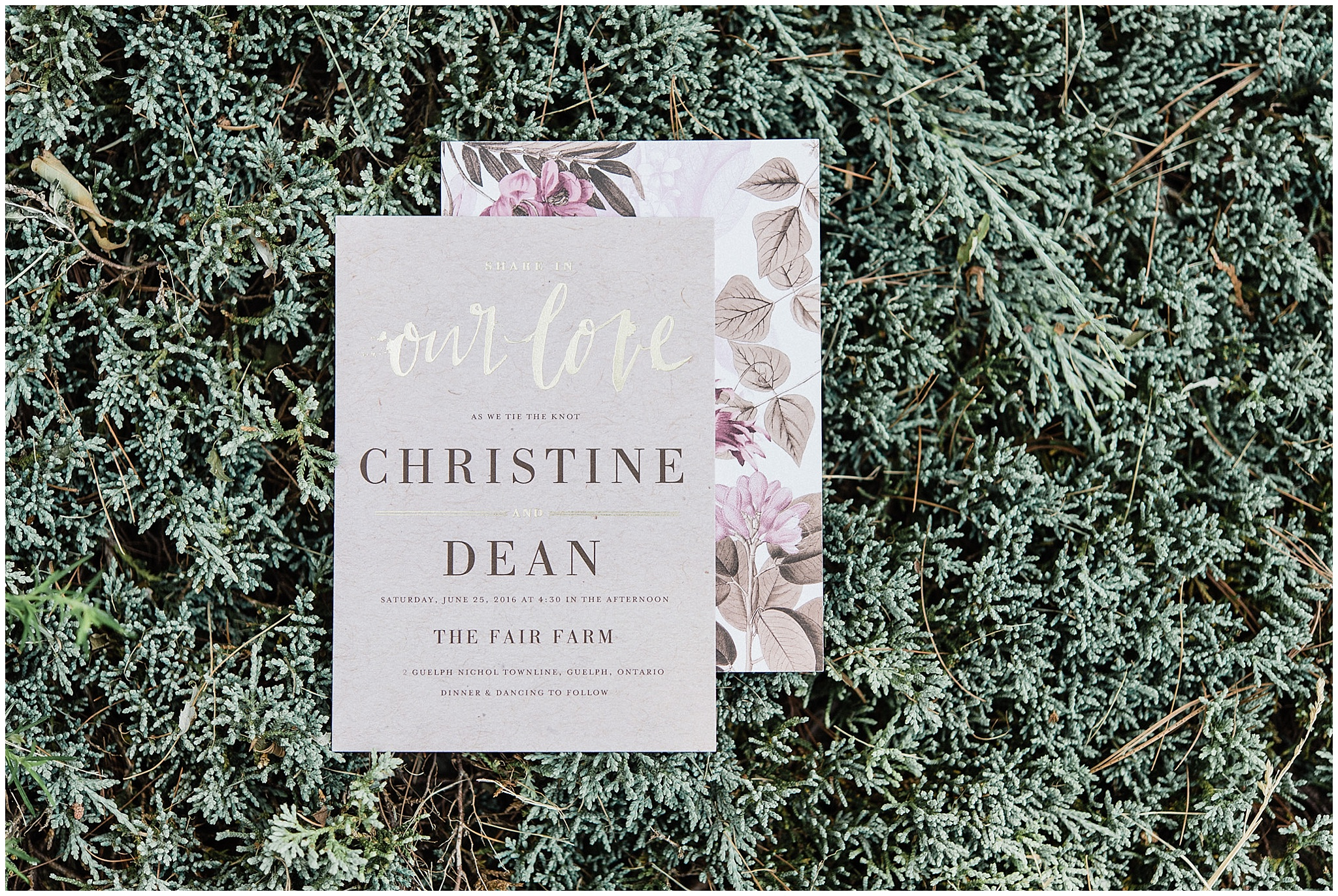 Wedding Paper Divas floral wedding invitation | Tent wedding on family farm in Guelph, Ontario by Jenn Kavanagh Photography