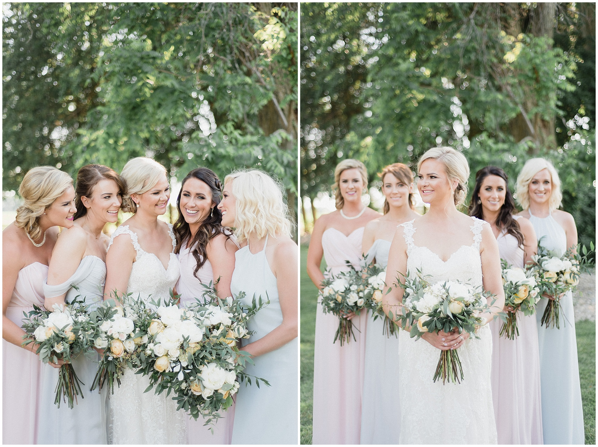 Mismatched pastel Amsale bridesmaids dresses |Tent wedding on family farm in Guelph, Ontario by Jenn Kavanagh Photography