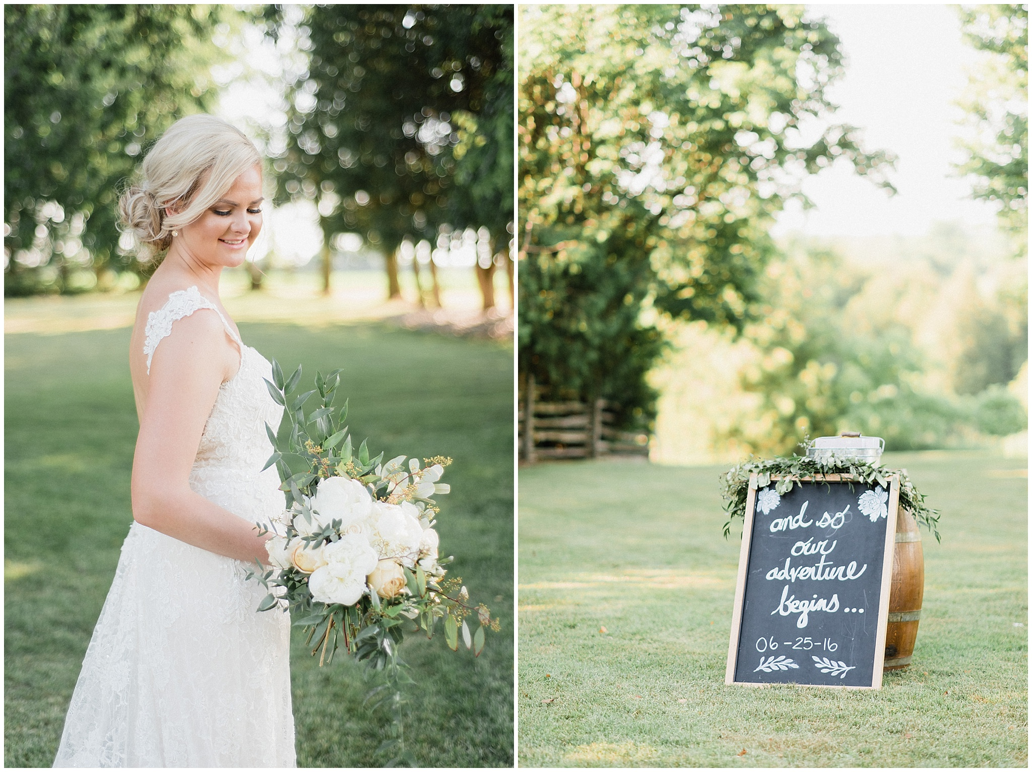 Super cute chalkboard ceremony sign 'And so our adventure begins' | Tent wedding on family farm in Guelph, Ontario by Jenn Kavanagh Photography