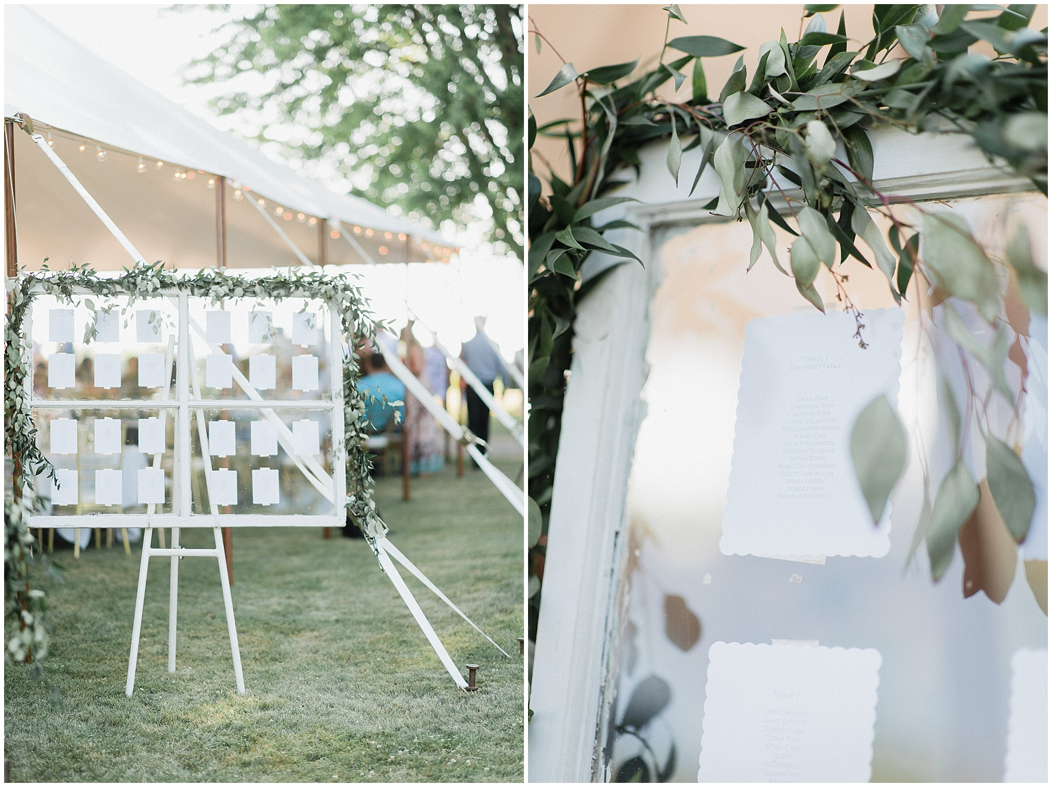 Rustic window pane seating chart with garland | Tent wedding on family farm in Guelph, Ontario by Jenn Kavanagh Photography