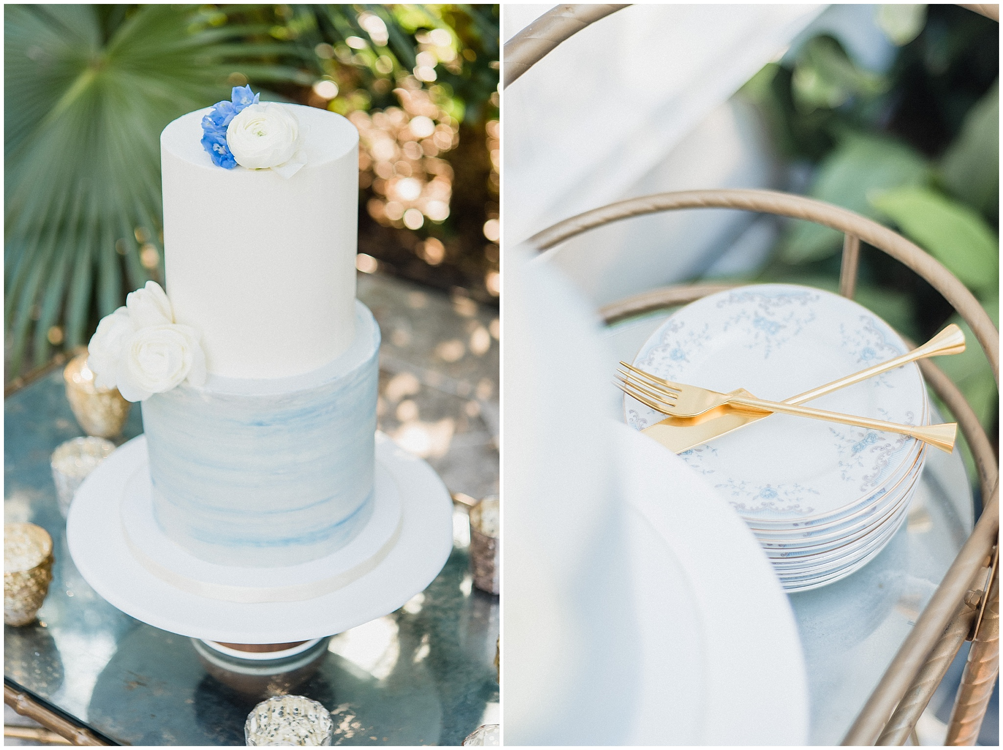 Light blue watercolour cake | Spring Bridal Session Inspiration | Jenn Kavanagh Photography | Confête Events