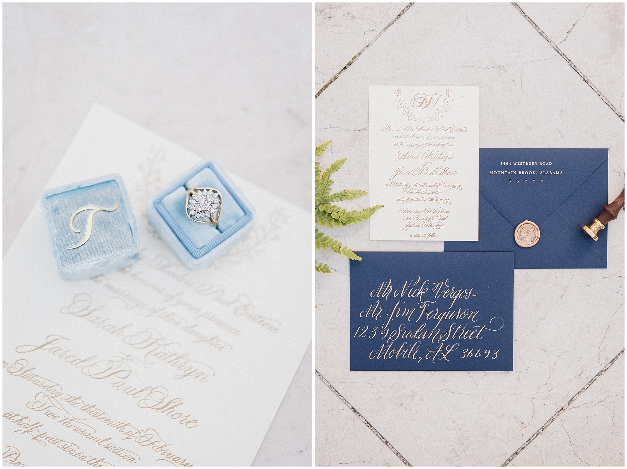 Spring Bridal Session Inspiration | Navy and gold invitation suite | Jenn Kavanagh Photography | Confête Events
